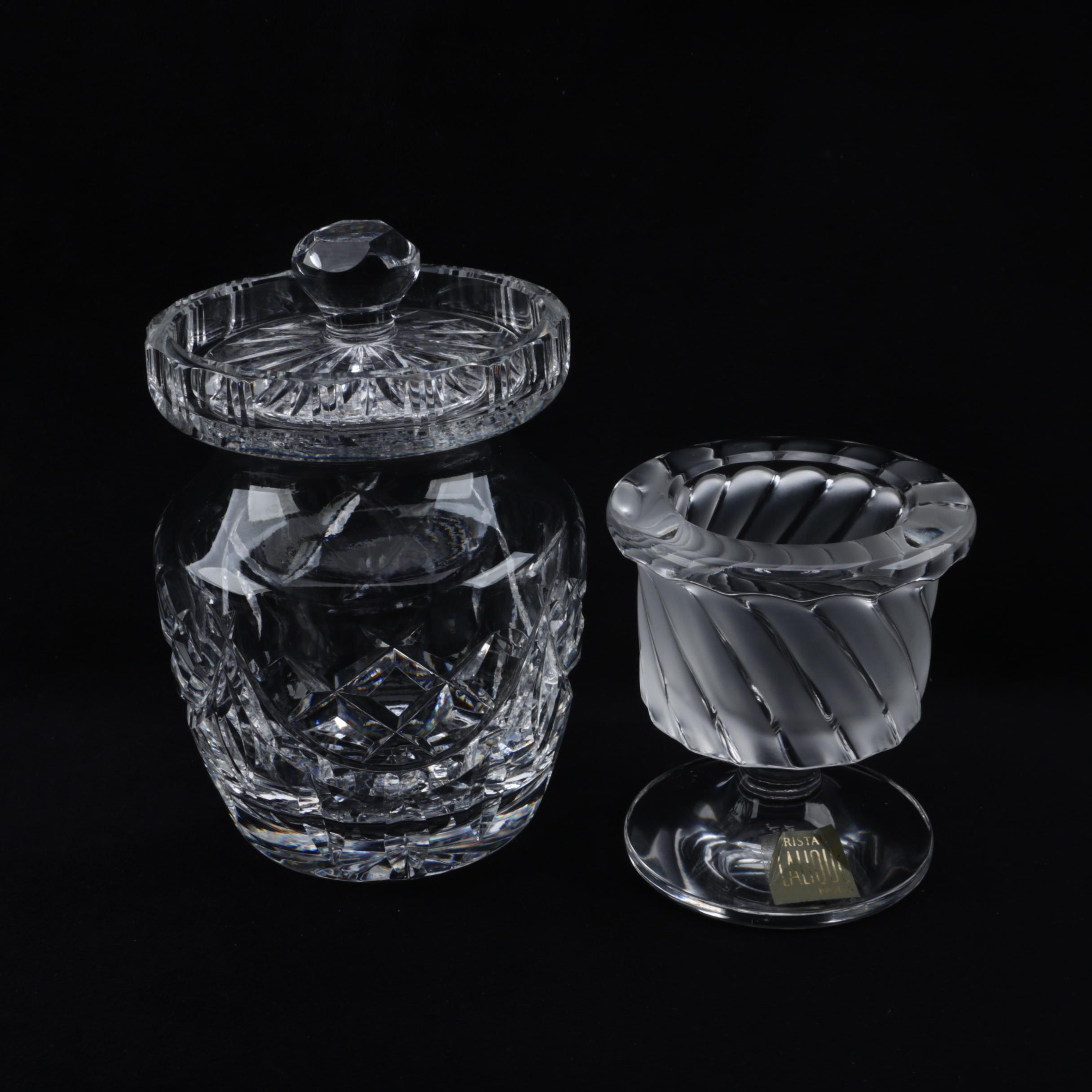 """Waterford Crystal Condiment Jar and Lalique """"Smyrne"""" Table Lighter Stand"""