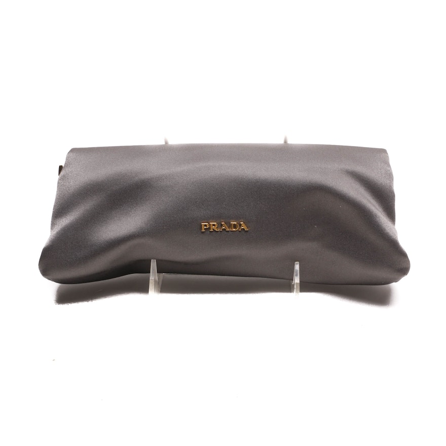 c2d201b0553e Prada Grey Satin Evening Clutch : EBTH