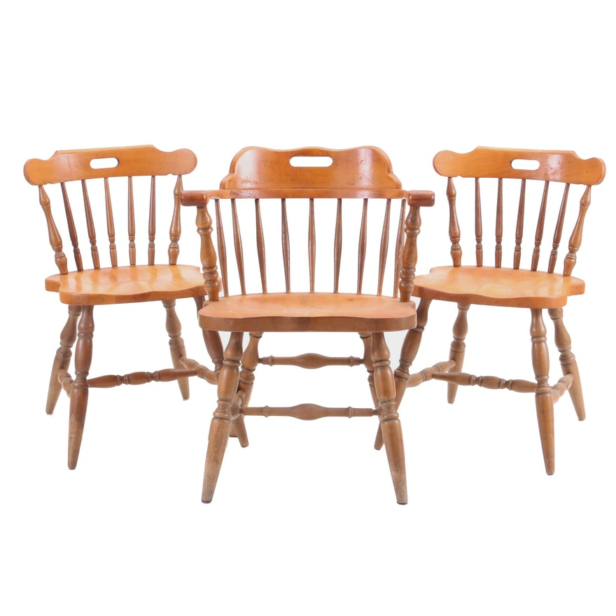 Three Early American Style Dining Chairs By Authentic Furniture Products Ebth