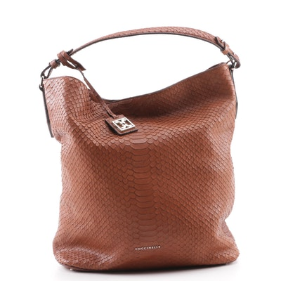 11fdb08958aa Coccinelle Snake Embossed Brown Leather Convertible Tote Bag