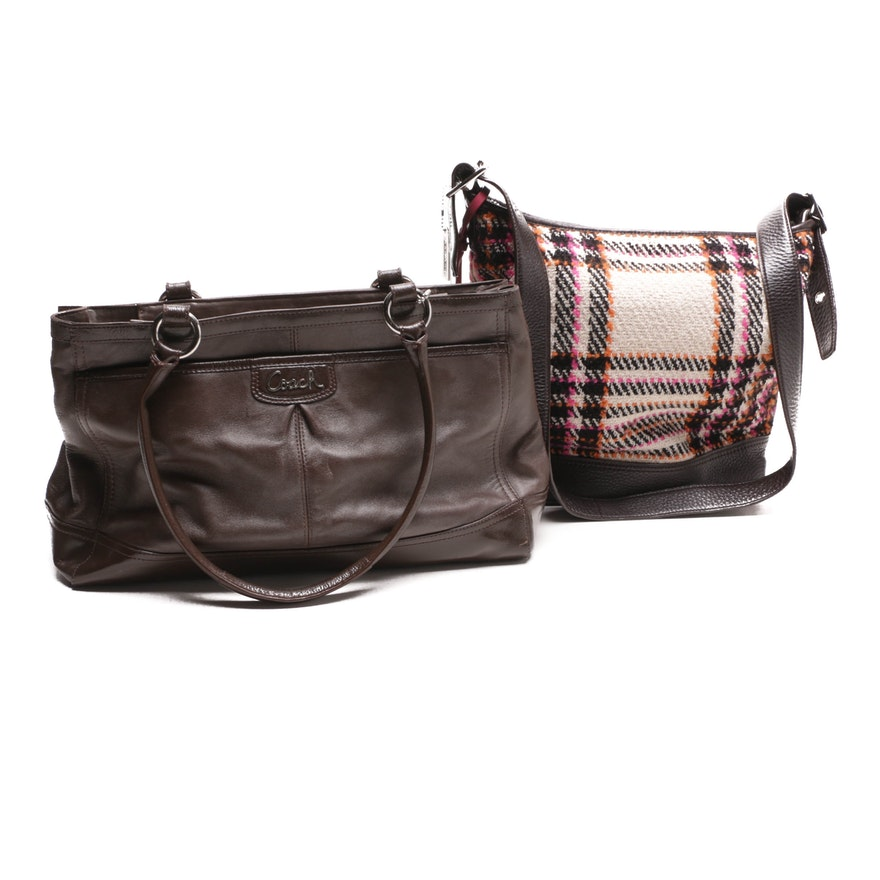 cf0f4ef41be5 Coach Legacy Colorblock Plaid Duffle and Park Leather Carryall   EBTH