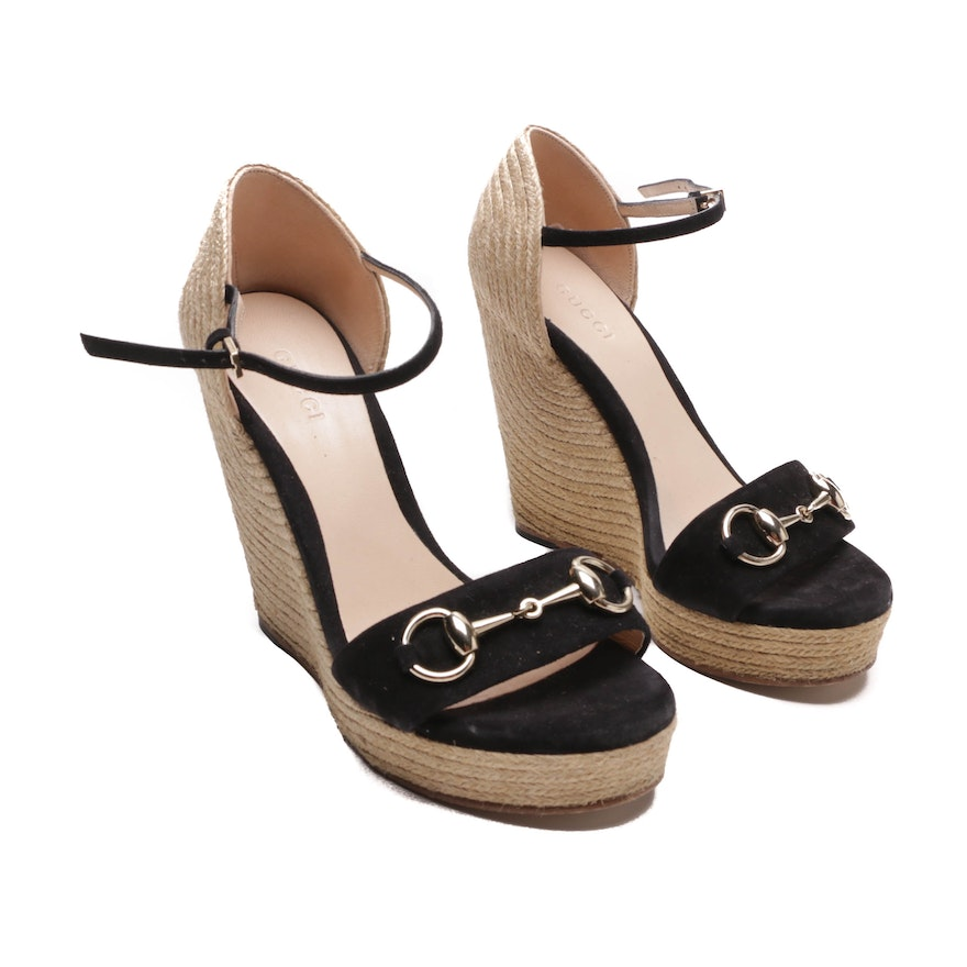 b8be7d065 Gucci Black Suede and Jute Horsebit Wedge Sandals   EBTH