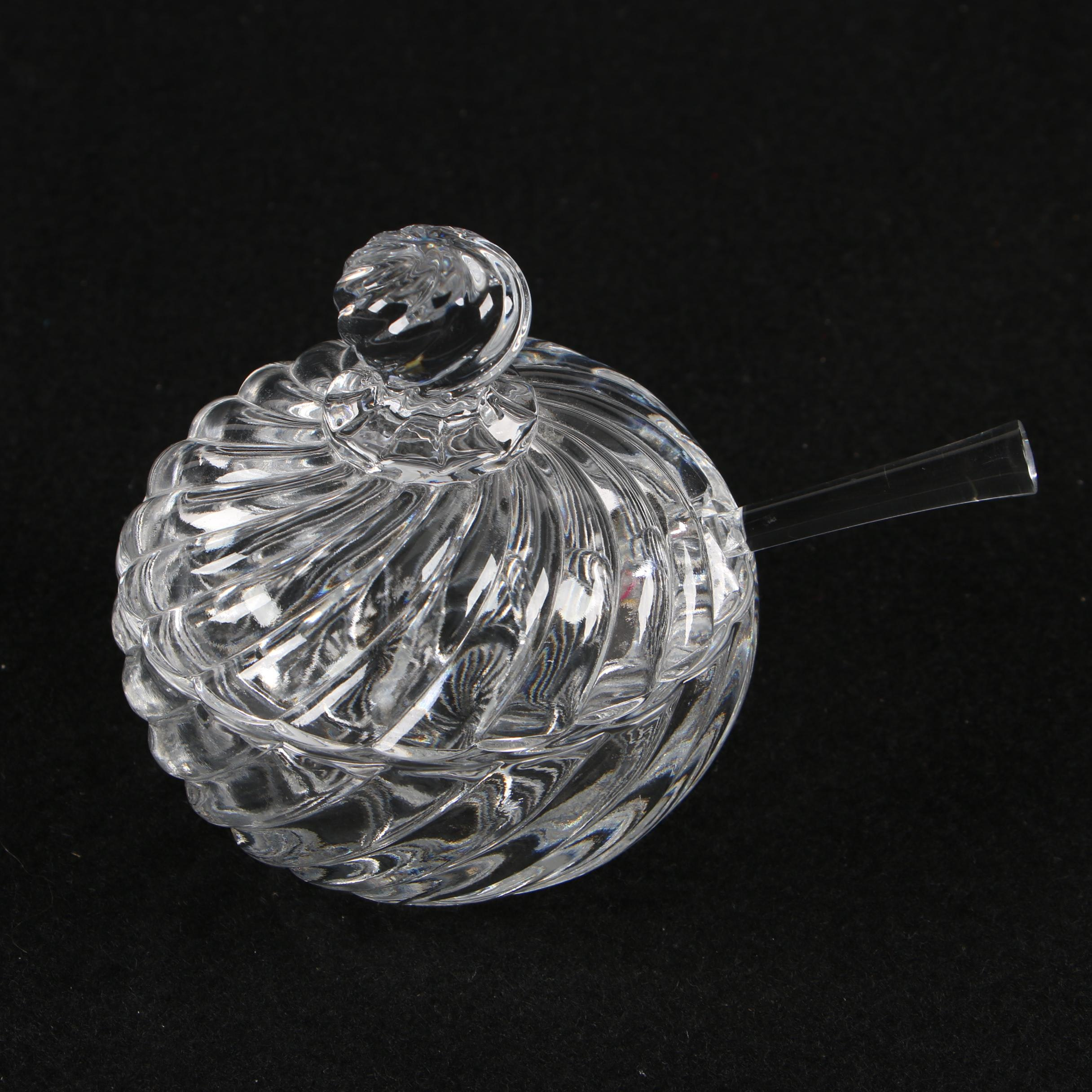 Baccarat Crystal Condiment Jar and Spoon