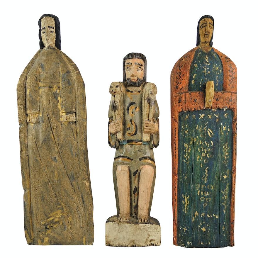 Folk Art Carved Wood Figures