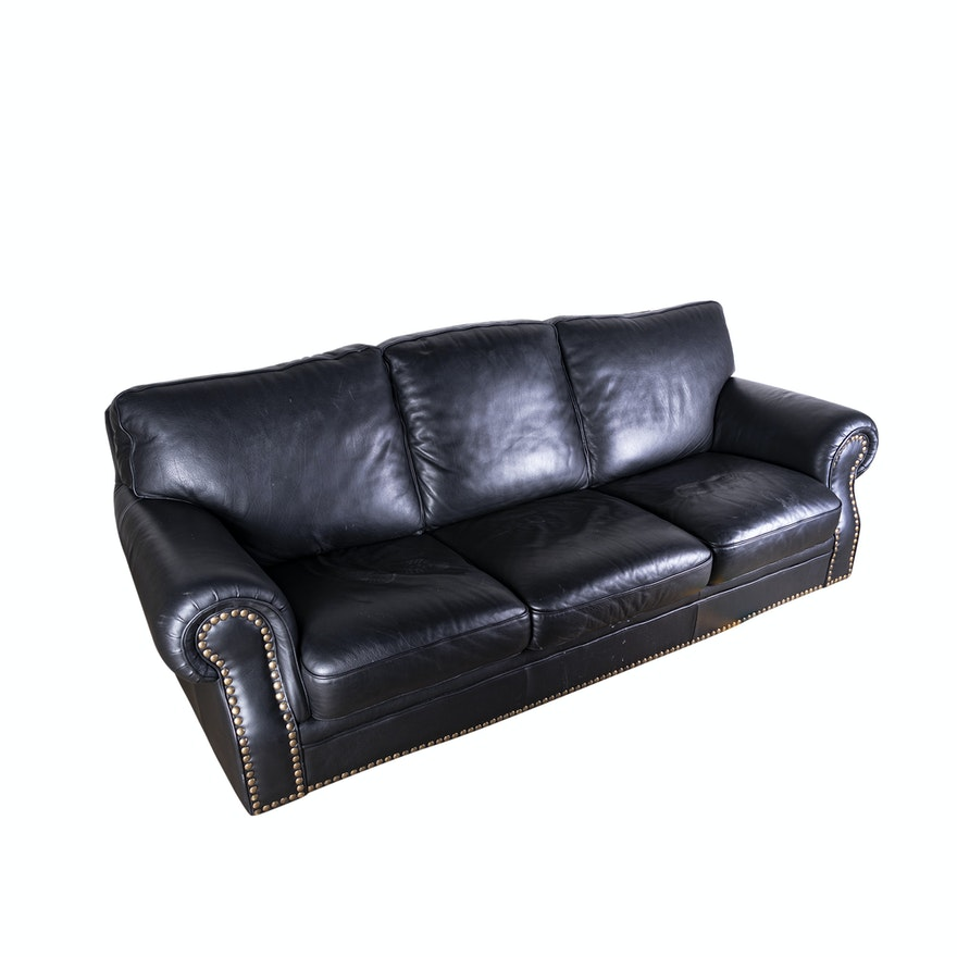 Contemporary Black Leather Sofa : EBTH