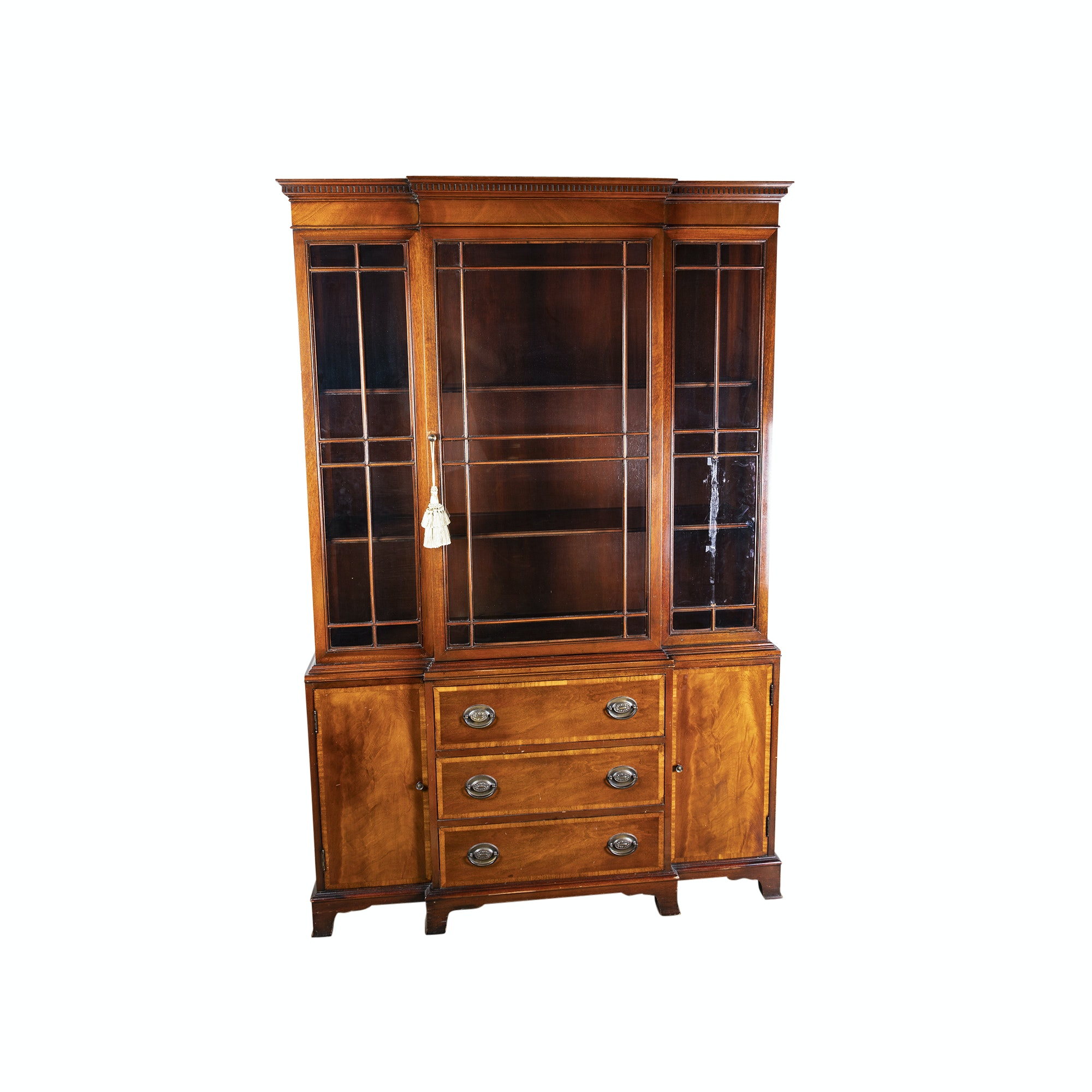 Federal Style Mahogany Breakfront China Cabinet, Mid/Late 20th Century