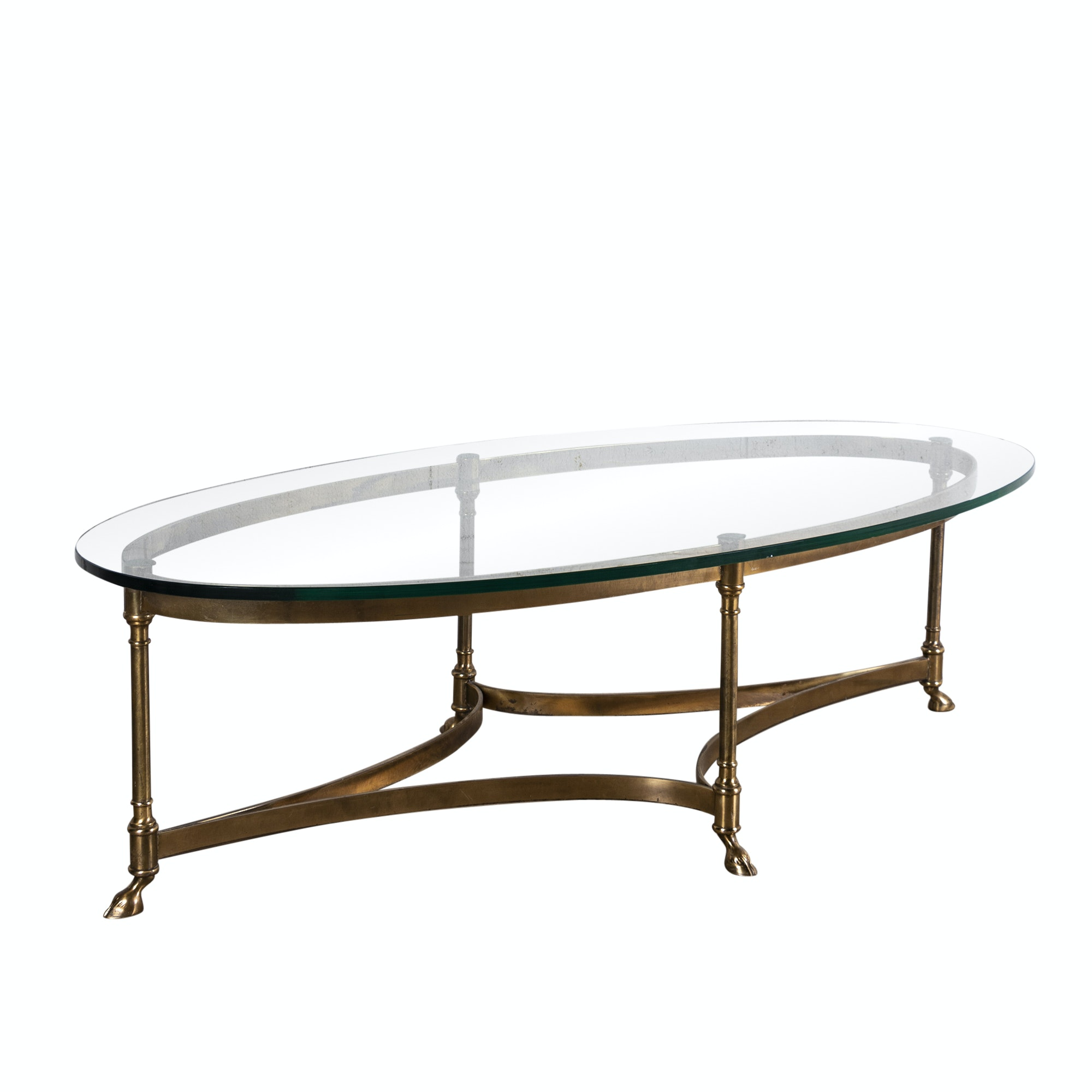 Hollywood Regency Style Glass and Brass Coffee Table, Late 20th Century