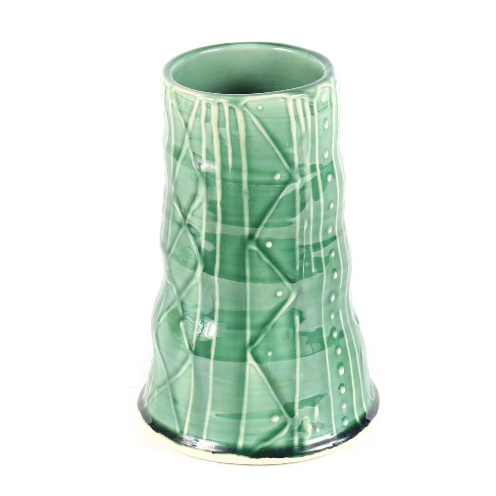 ZPots Wheel Thrown Textured Porcelain Vase