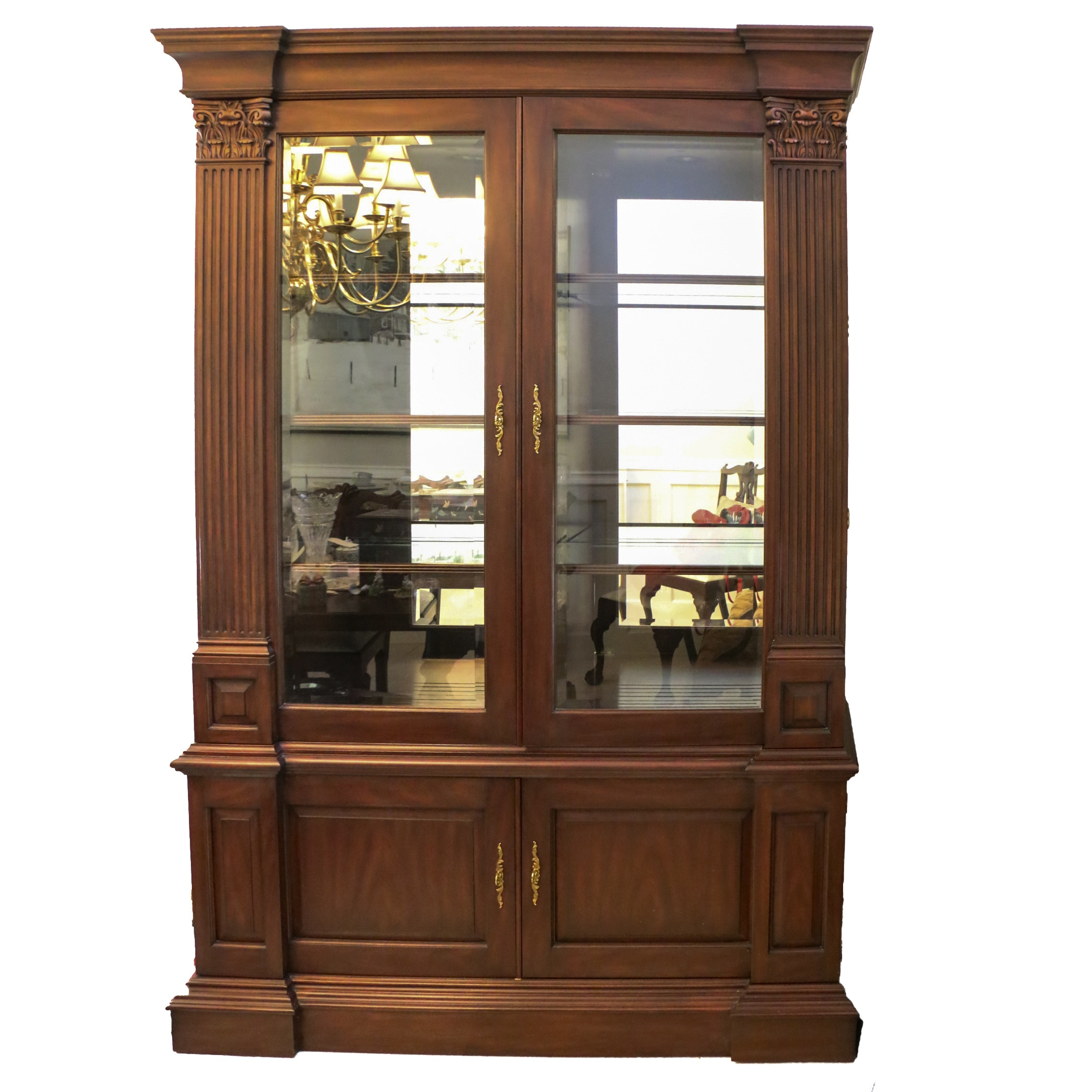 Neoclassical Style Mahogany Display Cabinet, Late 20th Century