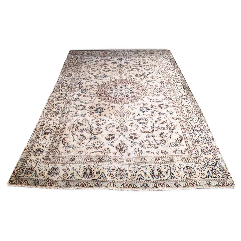 Vintage Hand Knotted Persian Nain Wool Area Rug