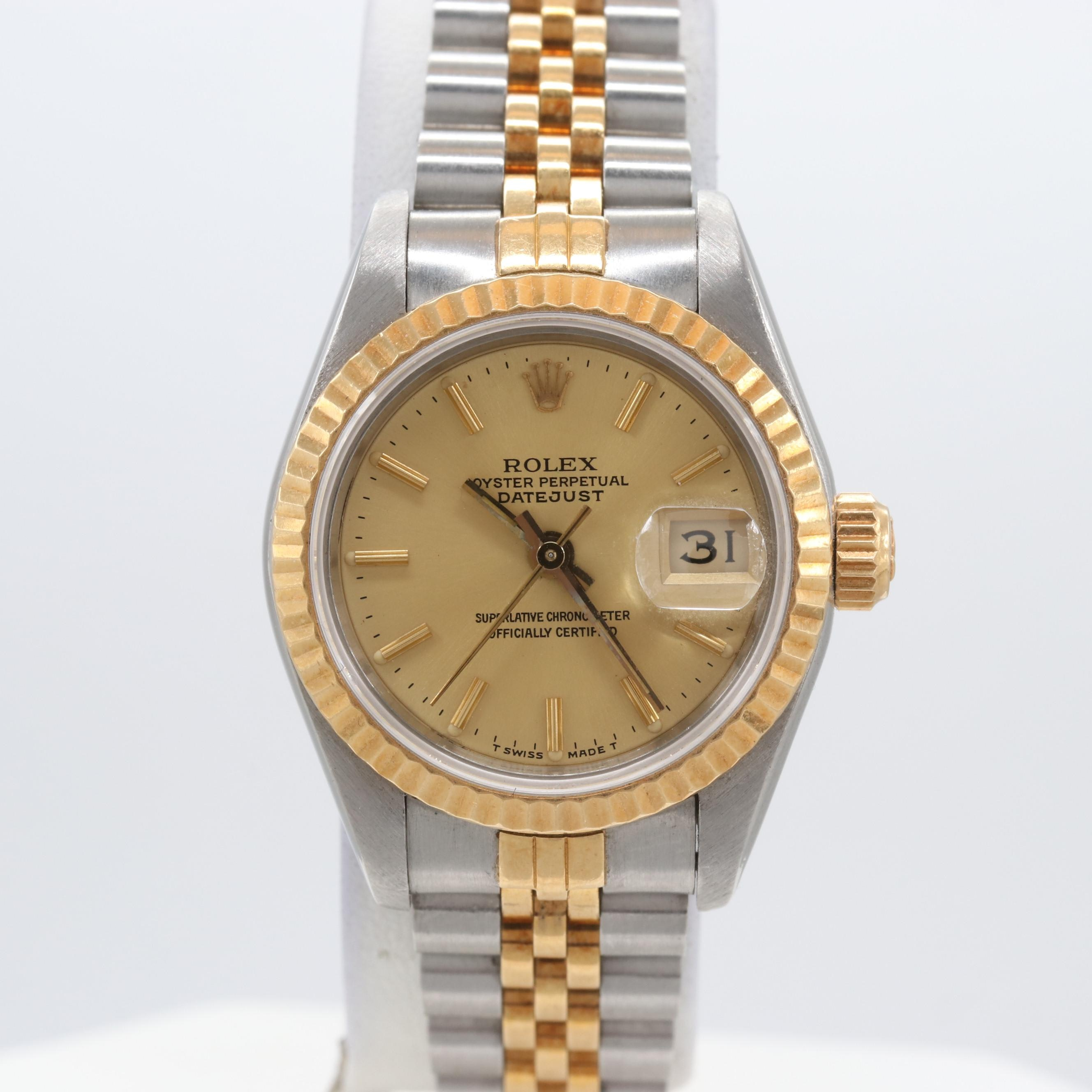 Rolex Stainless Steel and 18K Yellow Gold Datejust Wristwatch 1987