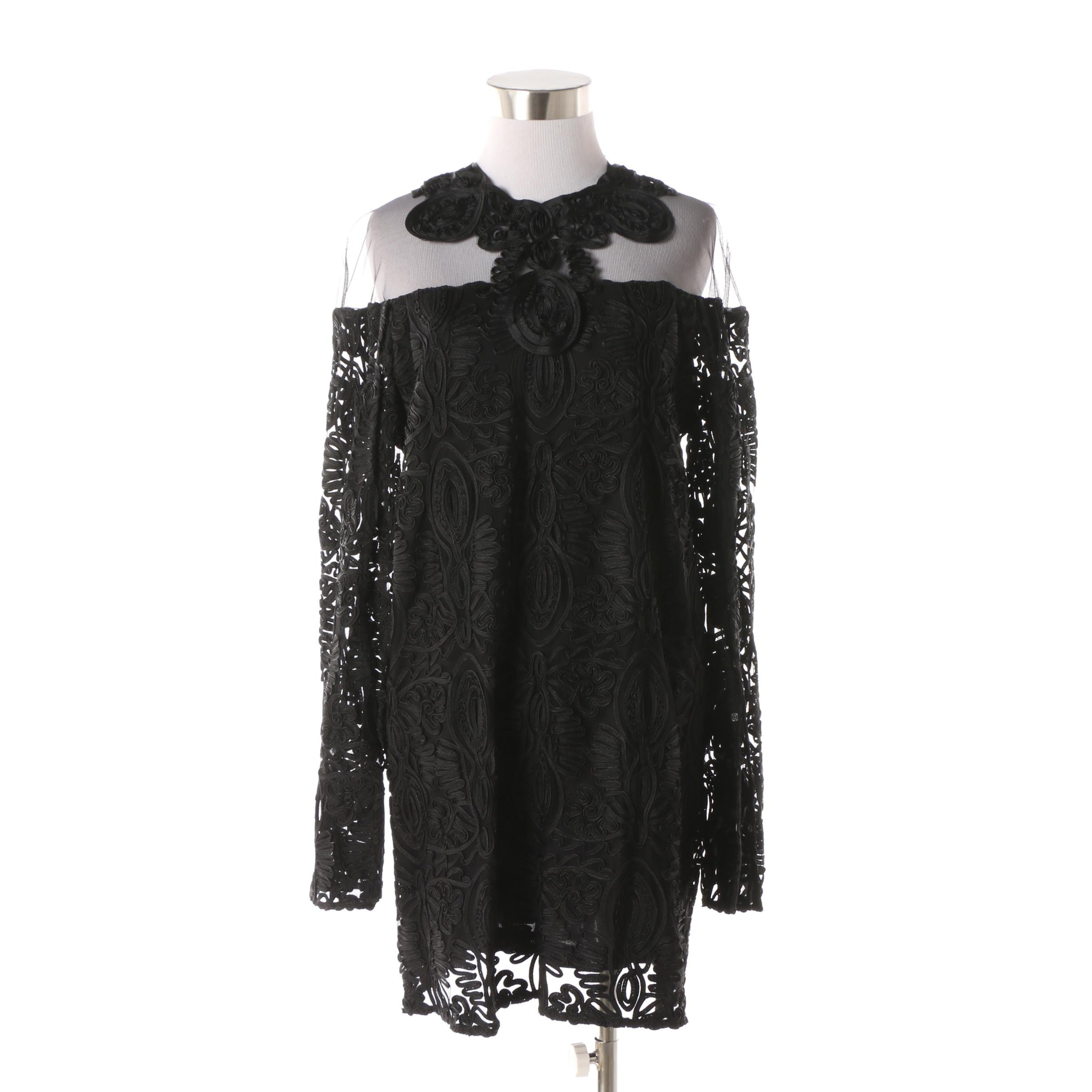 Anne Fontaine Black Mesh Dress with Foliate Soutache Design