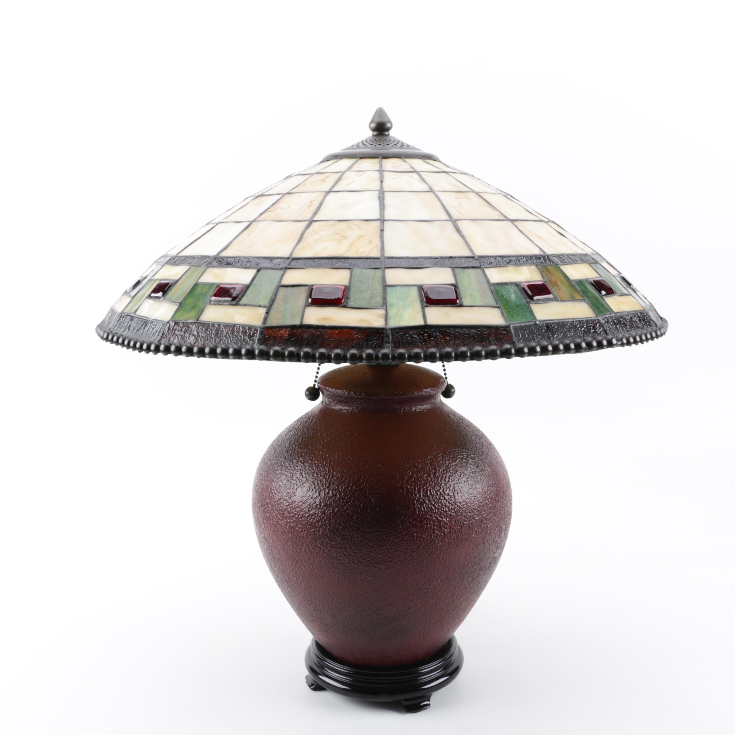 Contemporary Mission Style Lamp with Slag and Stained Glass Shade