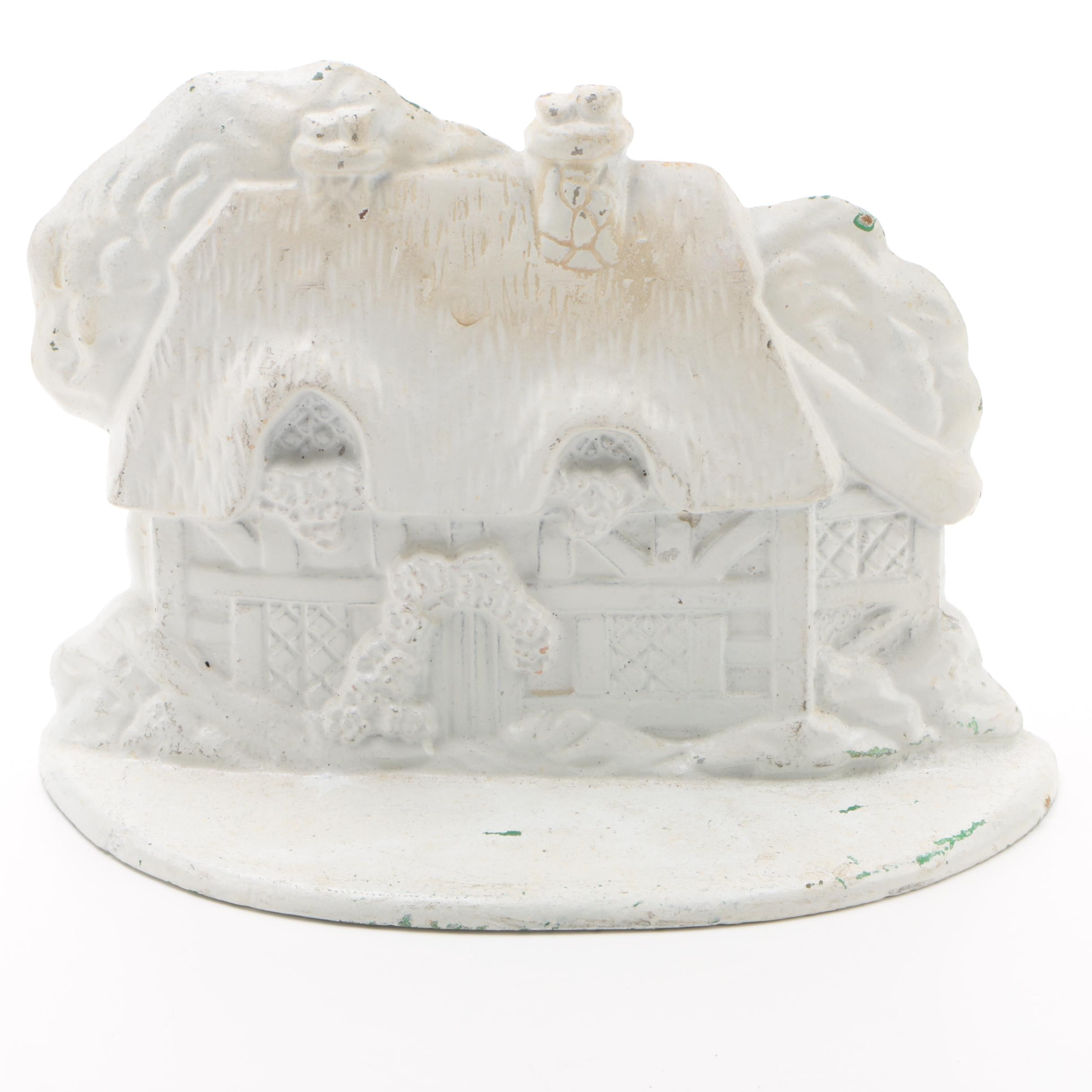 Midwest Importers White Cast Iron Thatched Cottage Doorstop