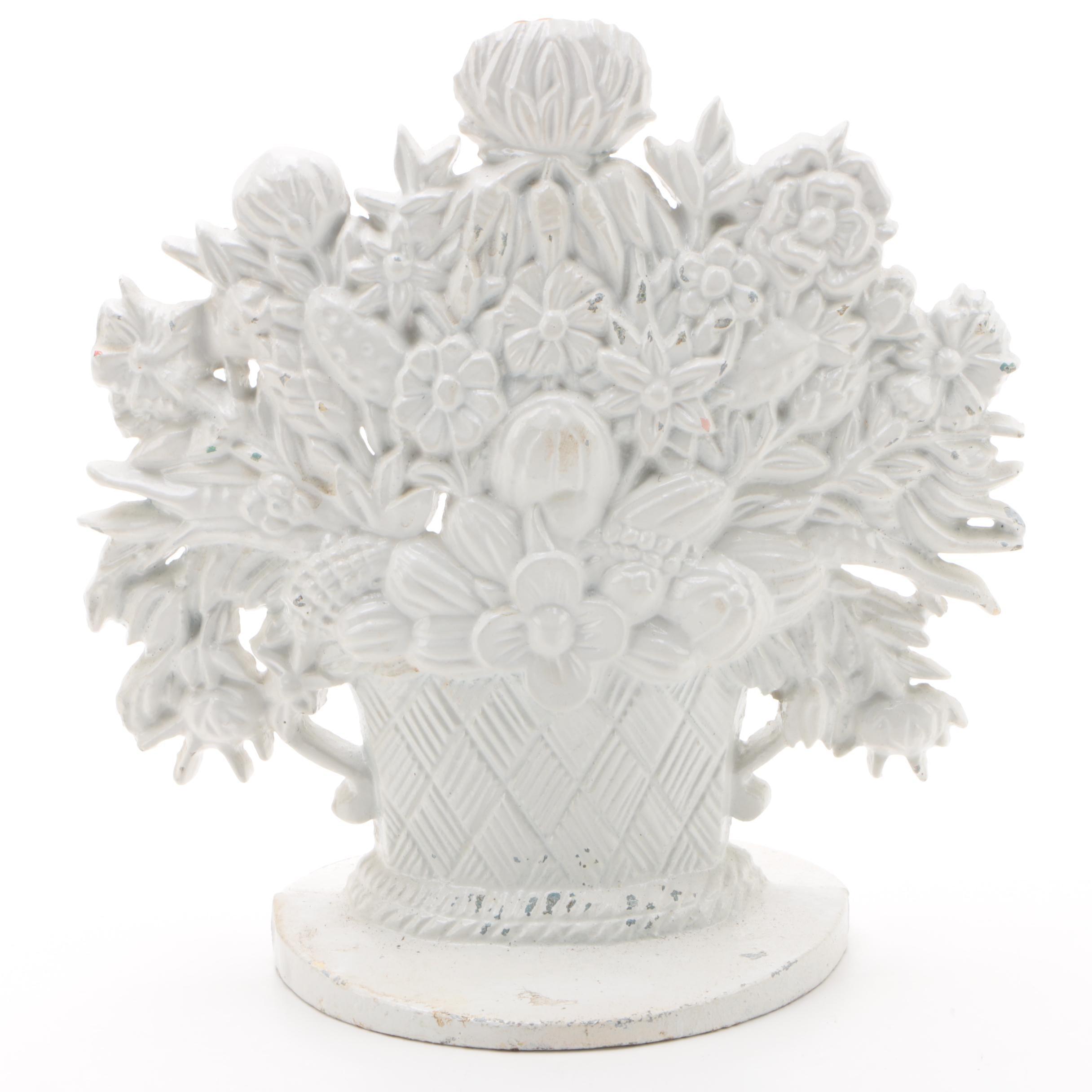 Midwest Importers White Cast Iron Floral Bouquet Doorstop