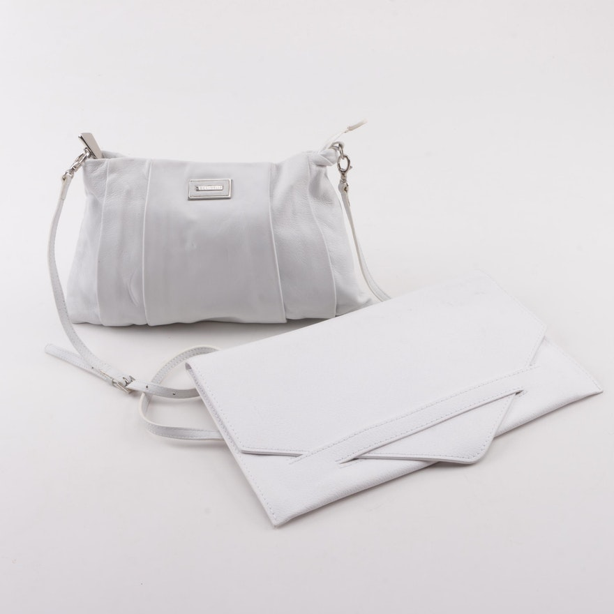 aaf39d1f0e9 Coccinelle and Gianni Chiarini White Leather Shoulder Bag and Envelope  Clutch ...
