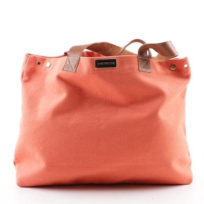 415e15667932 Anne Fontaine Violetta Coral-Colored Woven Canvas Tote Bag