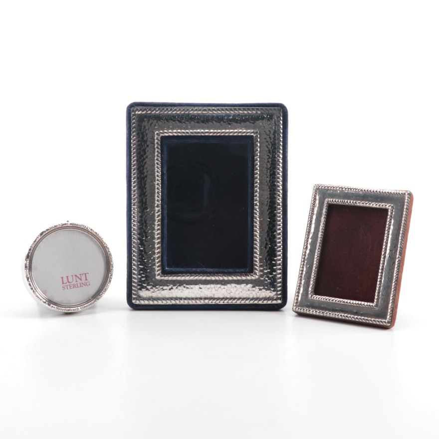 Lunt Sterling Round Picture Frame with Mexican and Italian Sterling ...