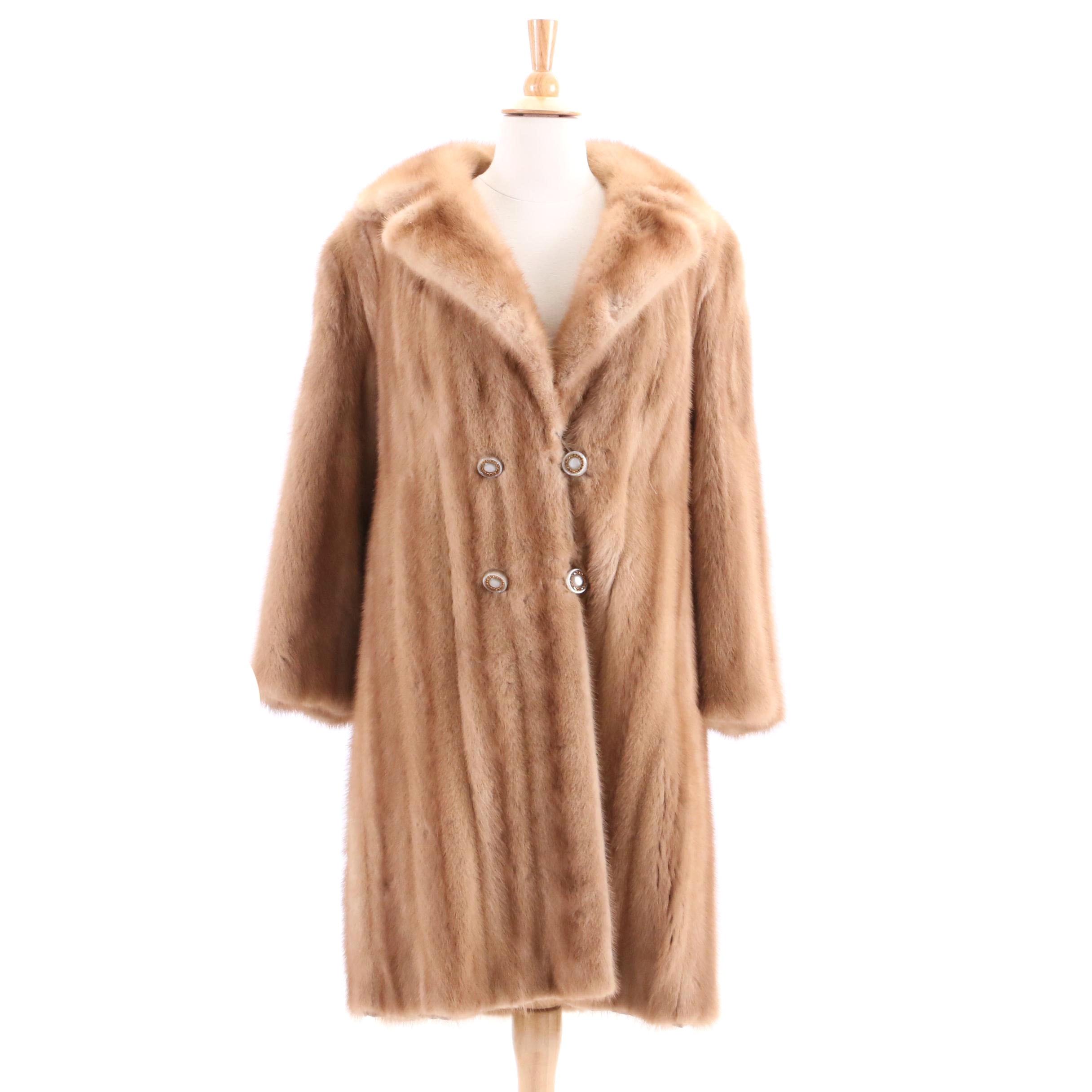 Vintage Heimann's Pastel Mink Fur Coat