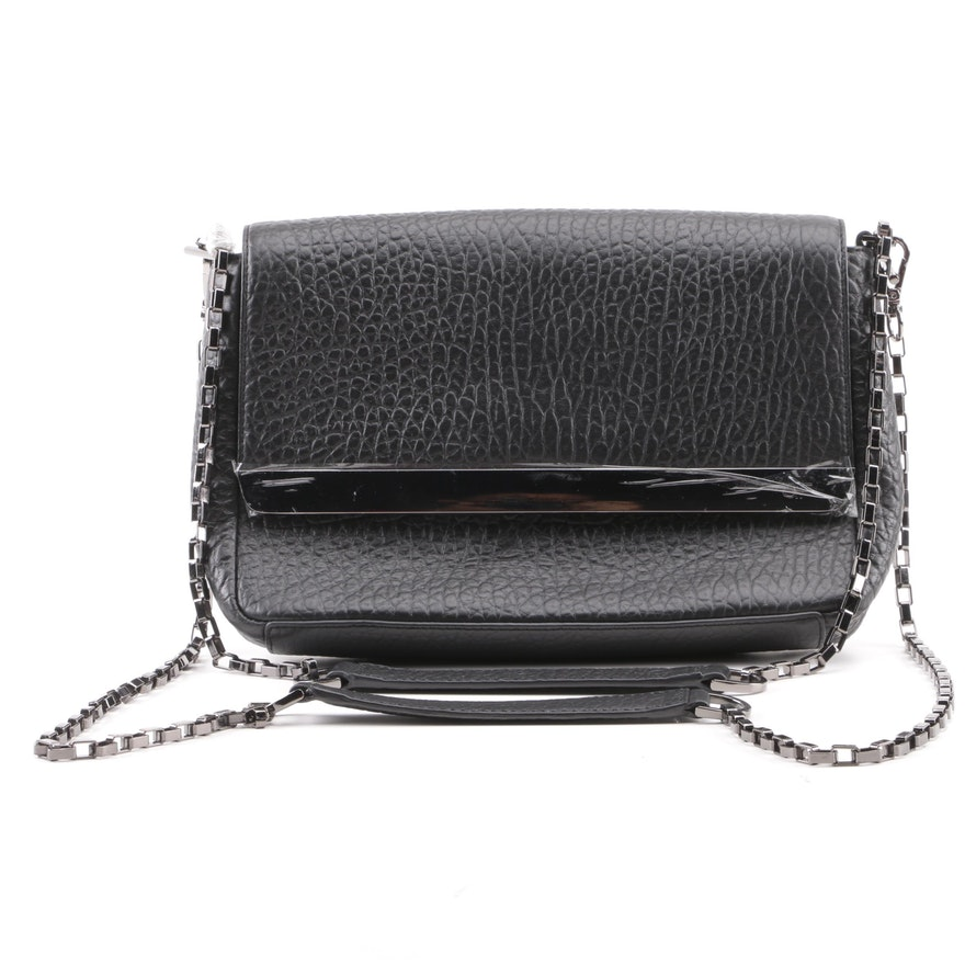 3a7fcc1532a0a0 Anne Fontaine Black Pebbled Leather Shoulder Bag : EBTH