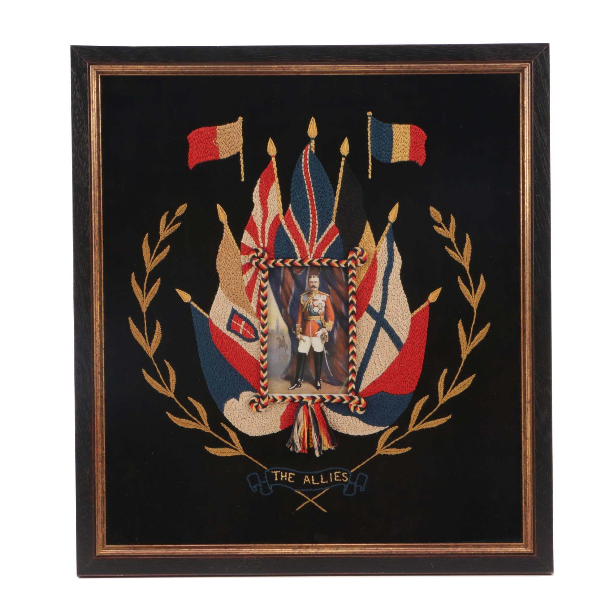 Early 20th-Century Oilette Card and Embroidered Surround of Hon. Earl Kitchener
