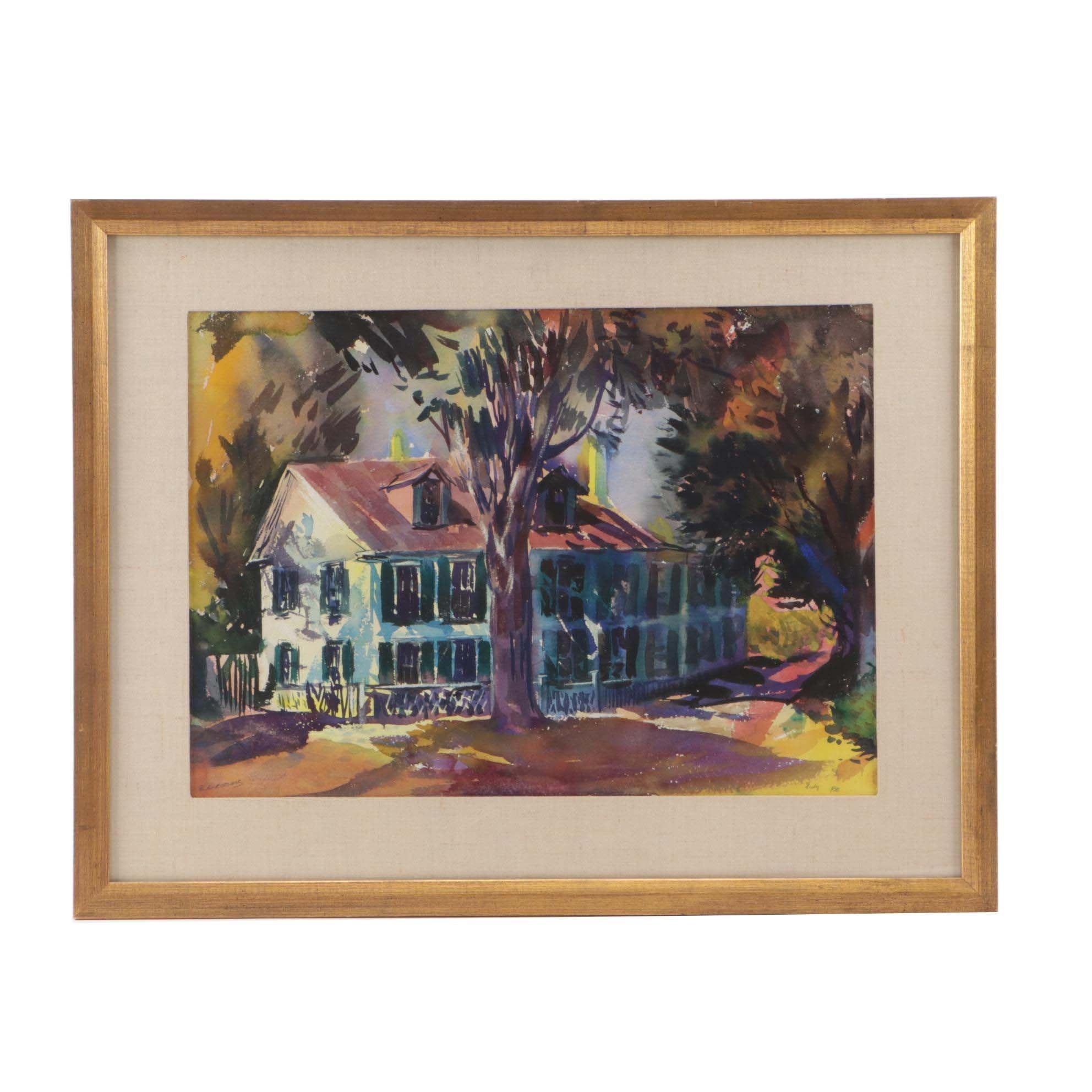 Reginald Grooms Watercolor Painting of House