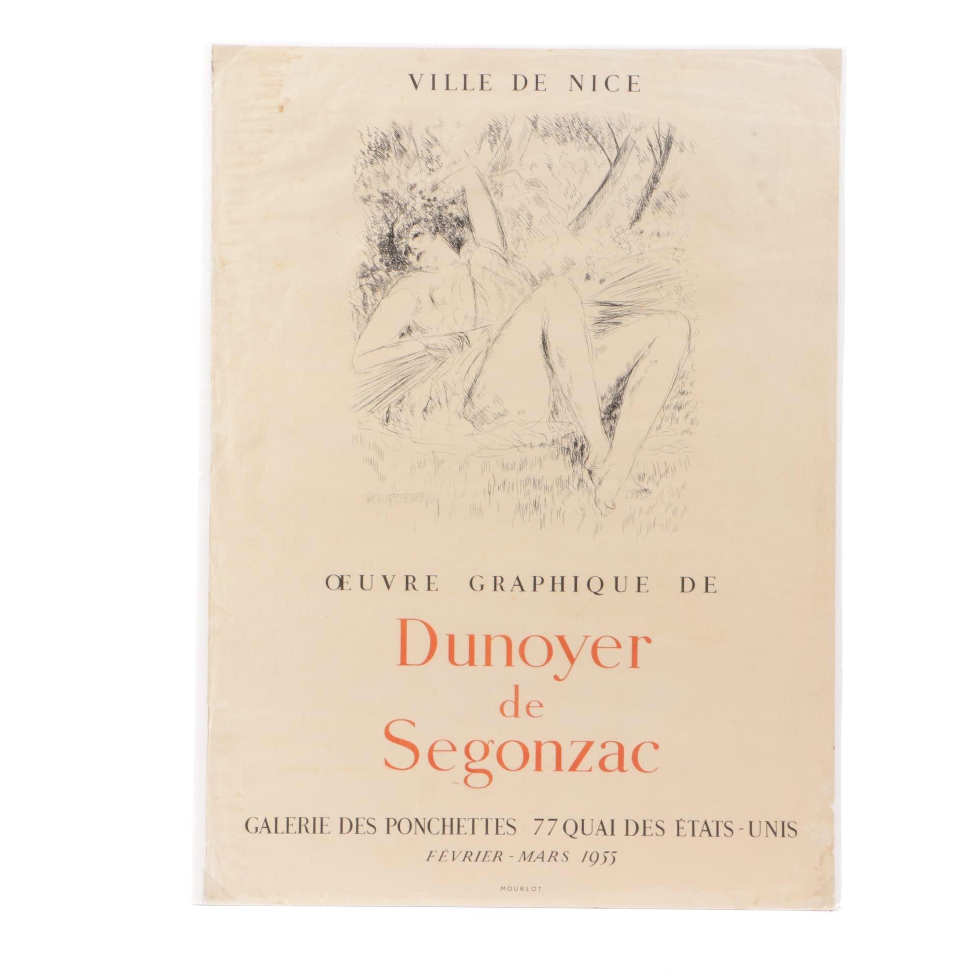 1955 Mourlot Lithograph Exhibition Poster after Andre Dunoyer de Segonzac