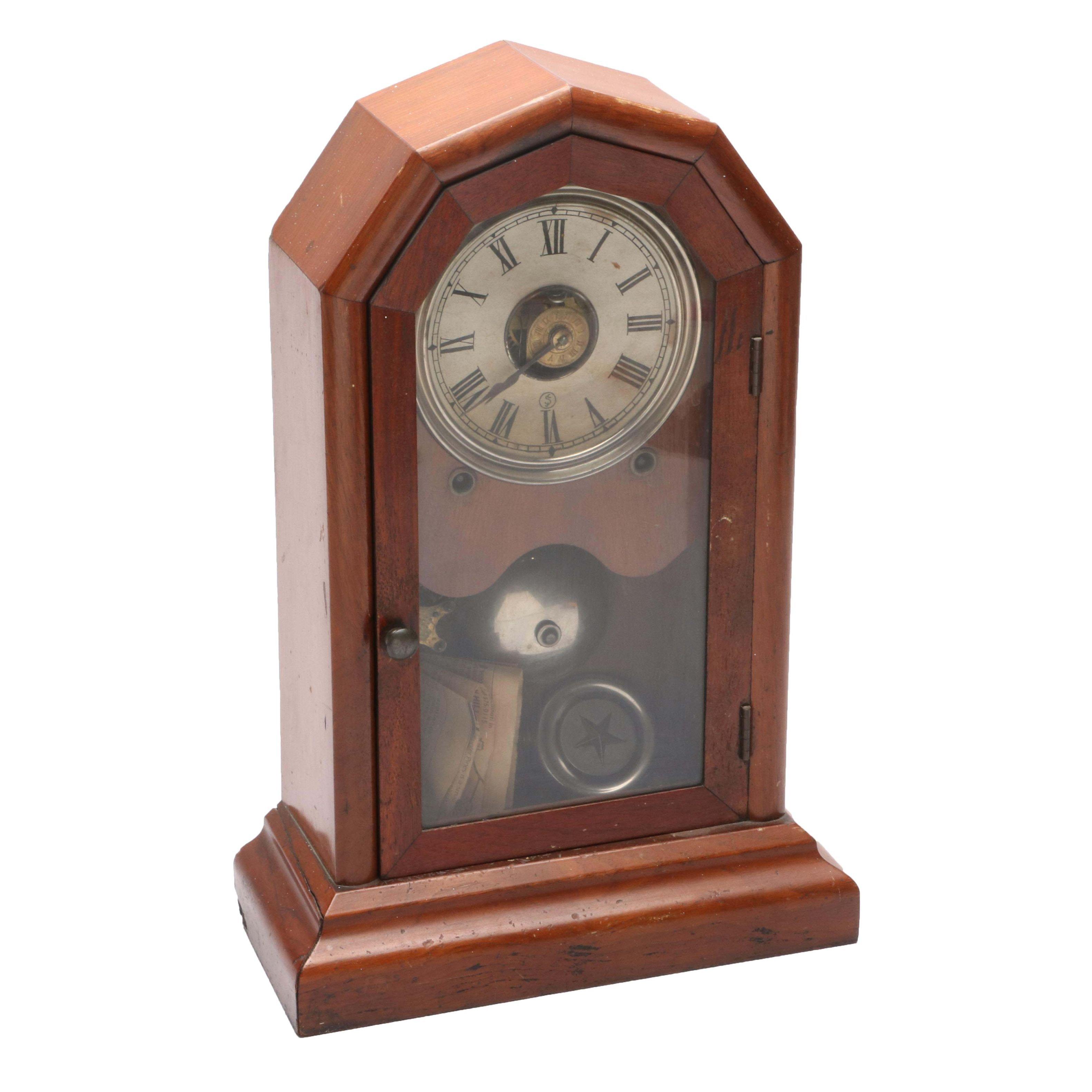 Antique Mahogany Finish Mantle Clock