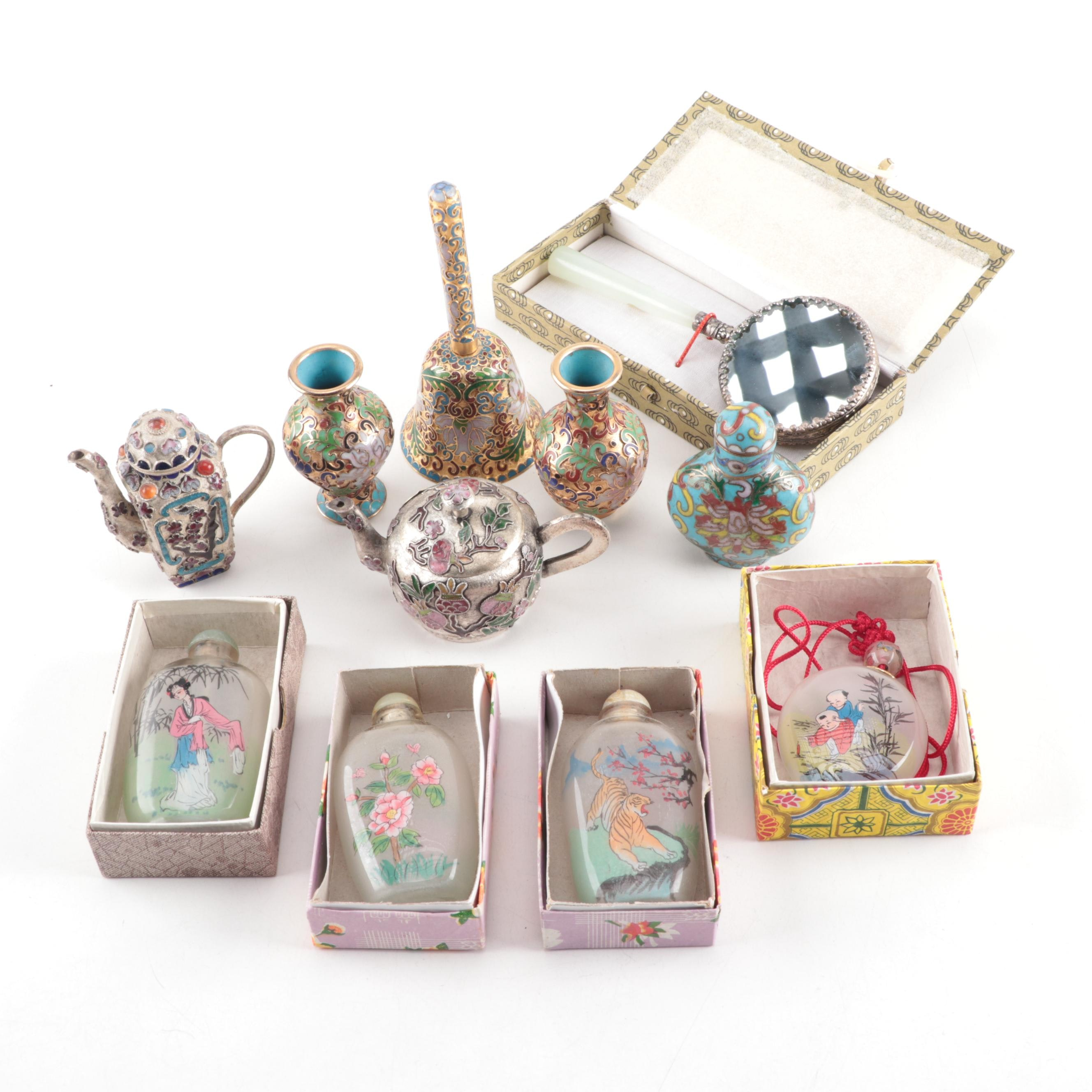 Chinese Snuff Bottles with Cloisonné Miniatures