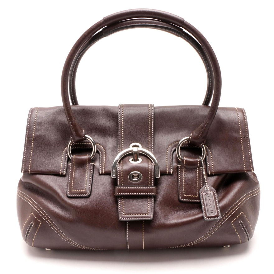 7aeace35edd Coach Brown Leather Soho Buckle Flap Satchel   EBTH