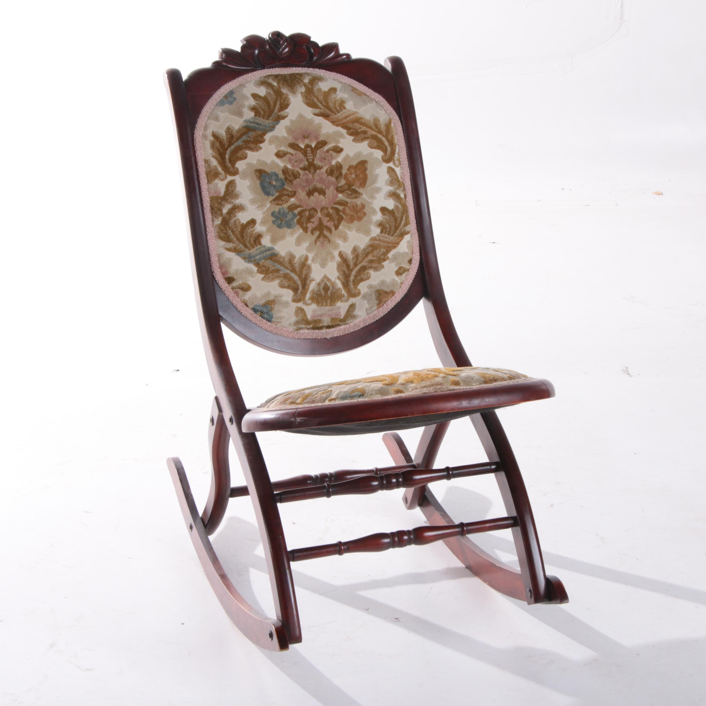 Victorian Style Mahogany Frame Upholstered Folding Rocker, Early 20th Century
