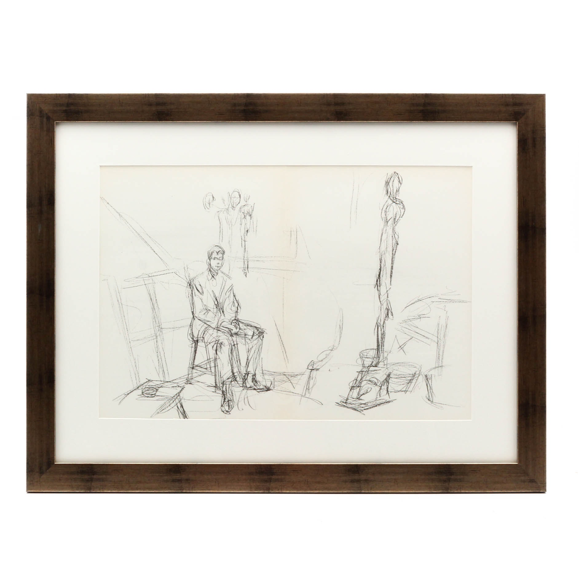 """Alberto Giacometti Double-Page Lithograph for """"Derriere le Miroir"""""""