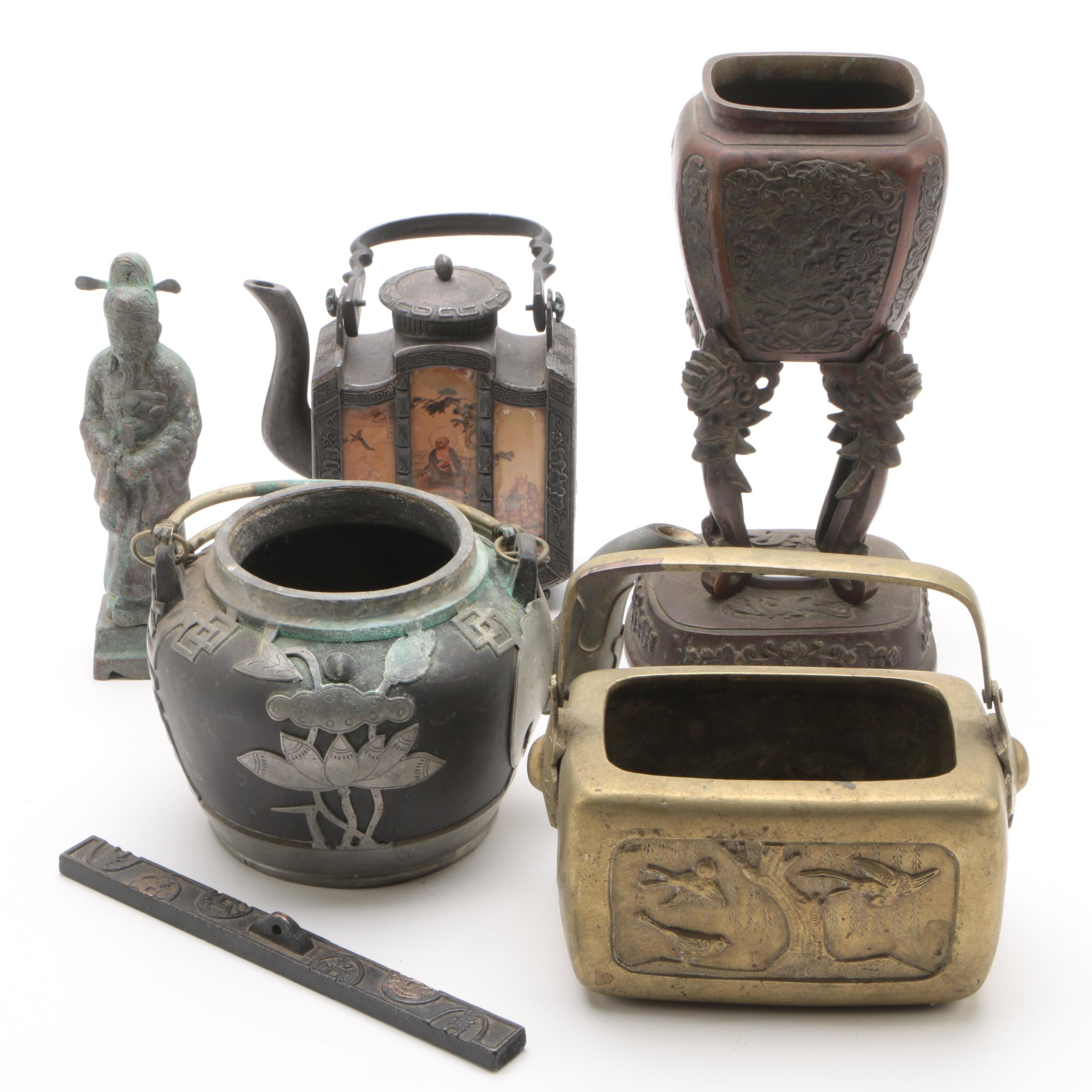 Shantou Style Pewter Teapot and Other Chinese Decor