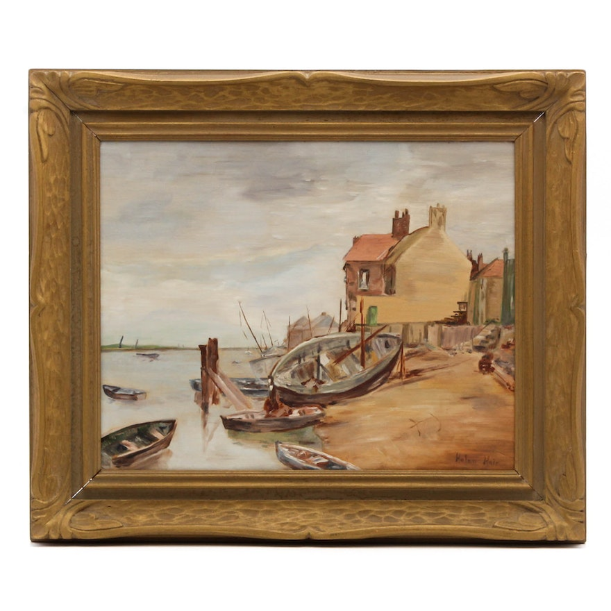 Vintage Helen Hair Oil Painting Of Small Boats On Shore Ebth