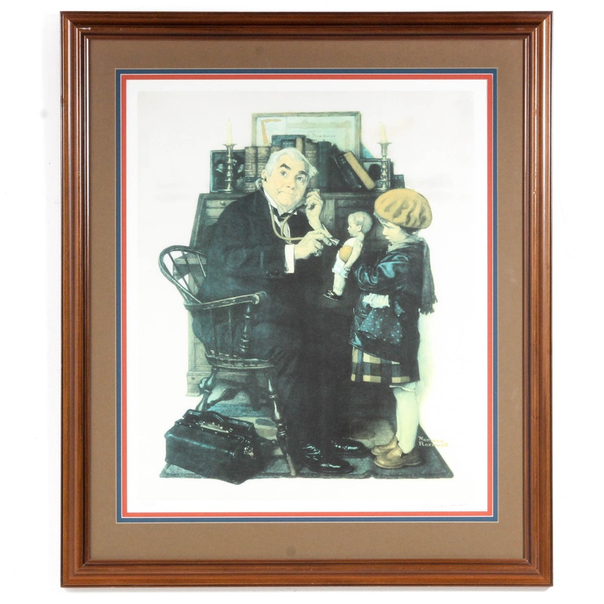 """Norman Rockwell Limited Edition Collotype """"The Doctor and The Doll"""""""