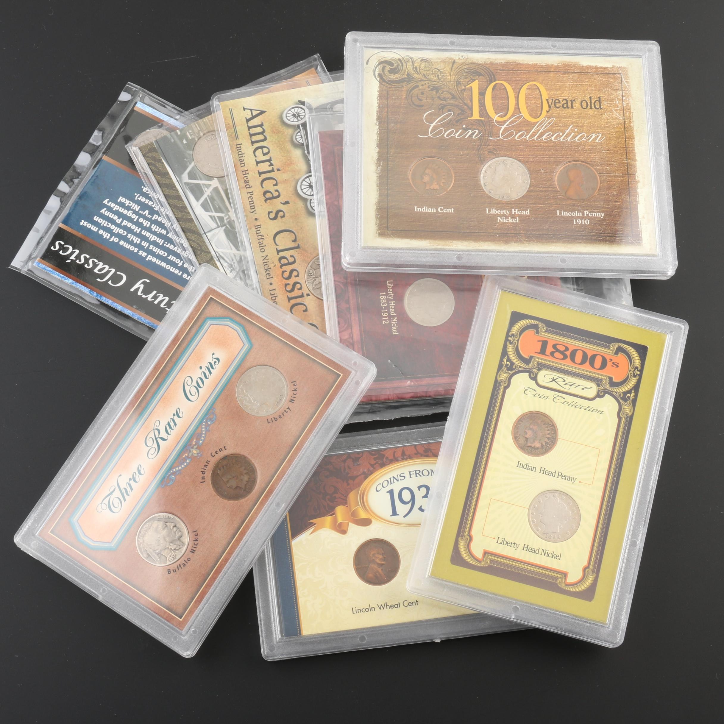Eight Sets of Antique to Vintage U.S. Nickel and Penny Coin Sets