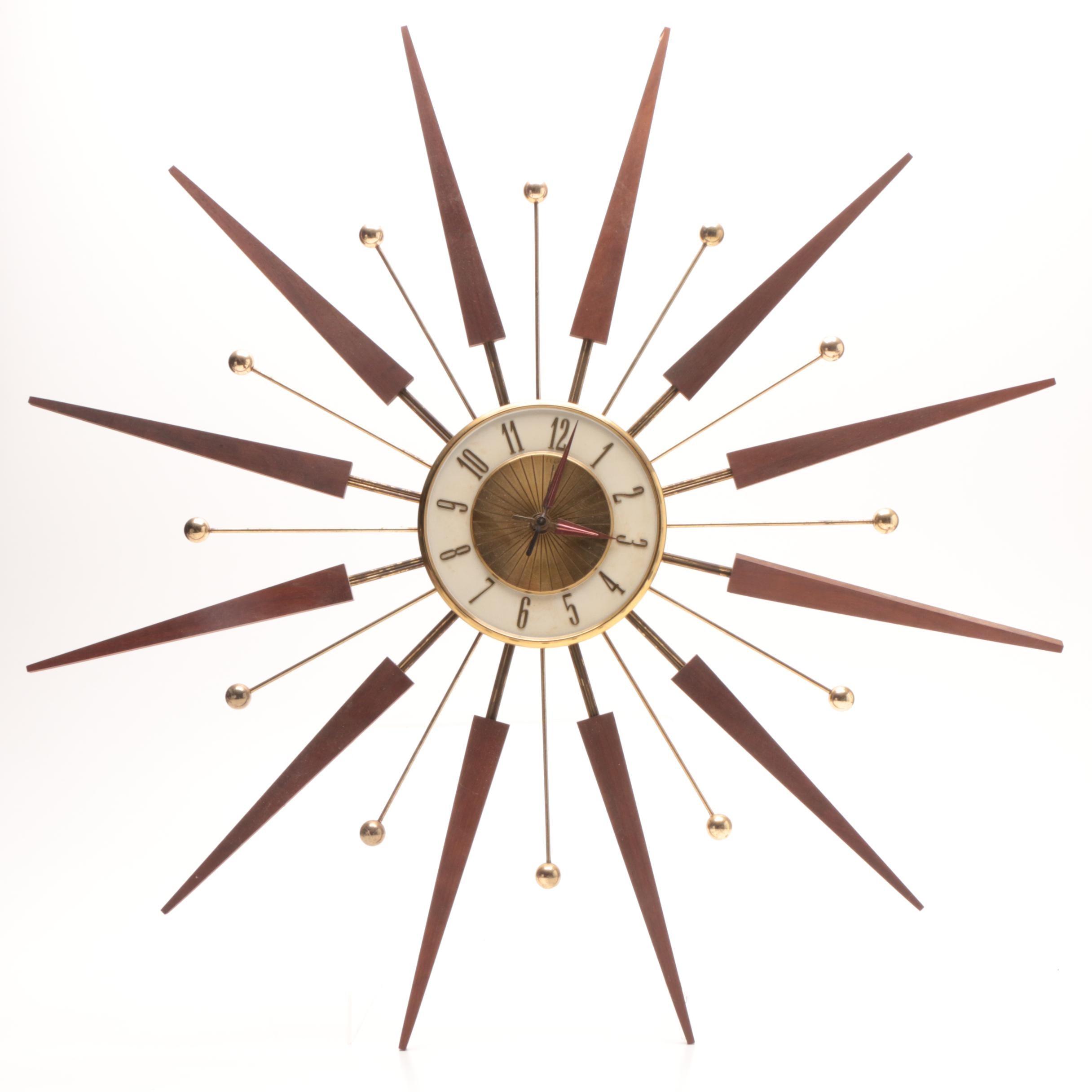 Elgin Mid Century Starburst Wall Clock