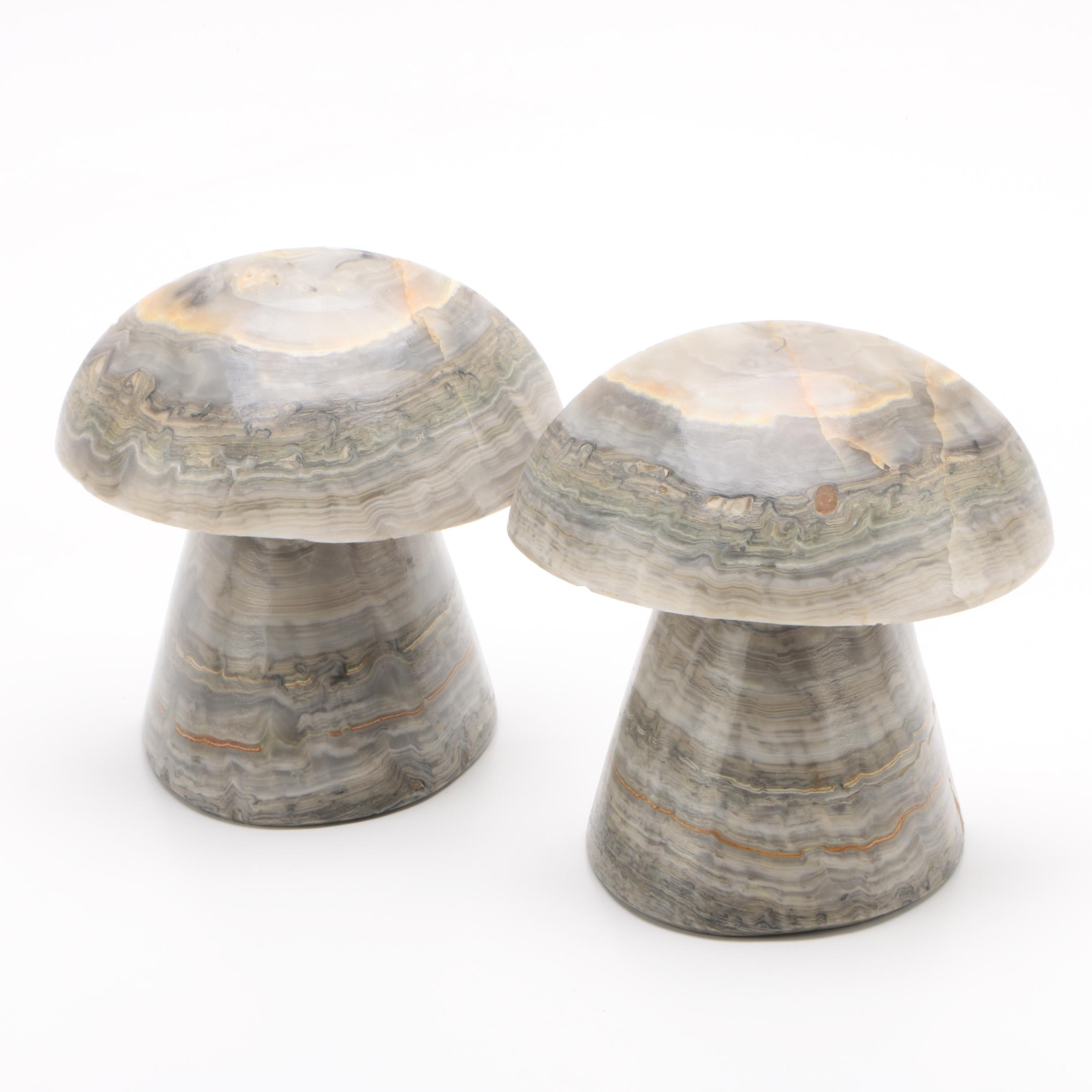 Carved Stone Mushroom Bookends