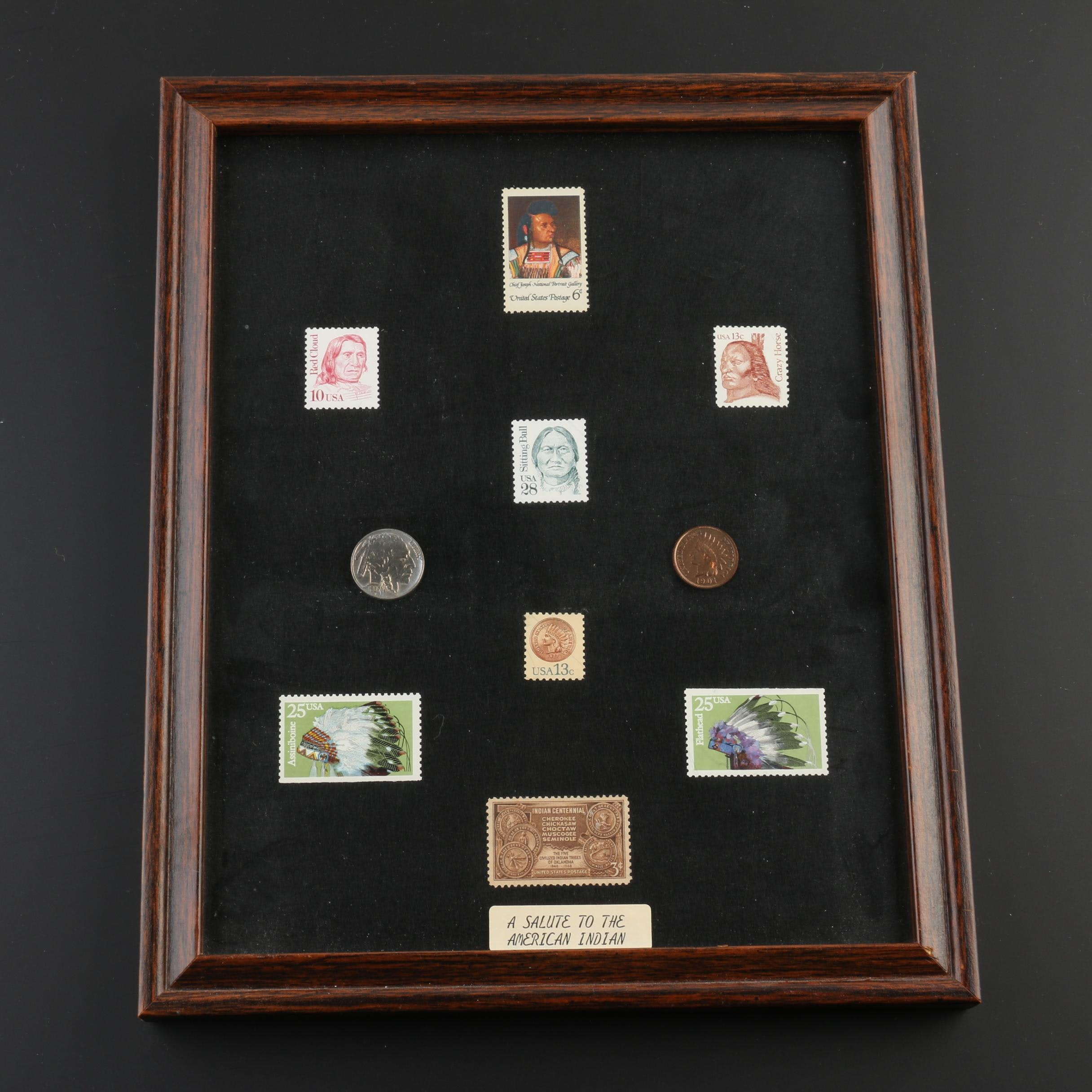 Framed Native American-Themed Stamp and Coin Assortment