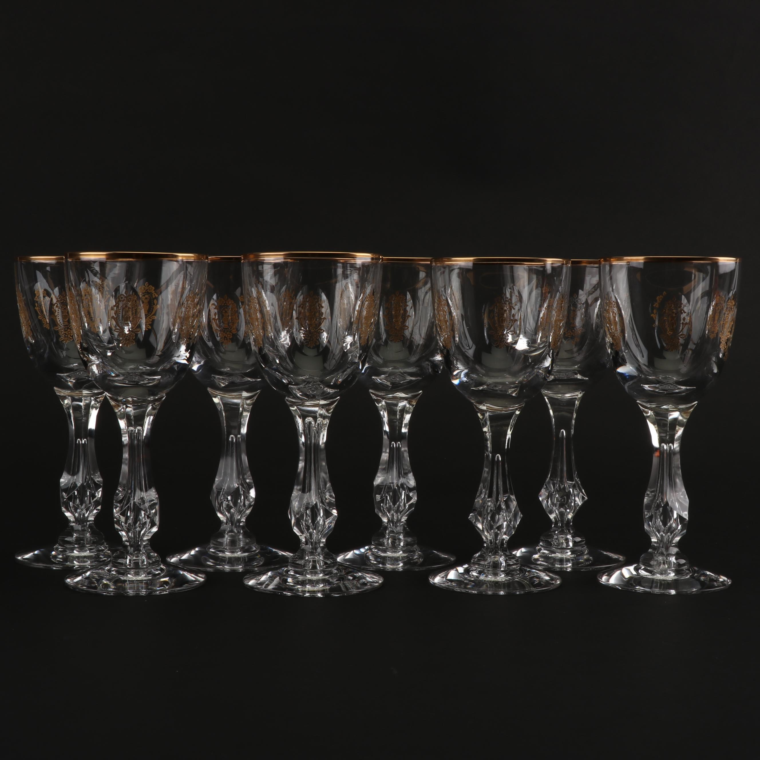 "Set of Eight Set of Tiffin-Franciscan ""Palais Versailles"" Red Wine Glasses"