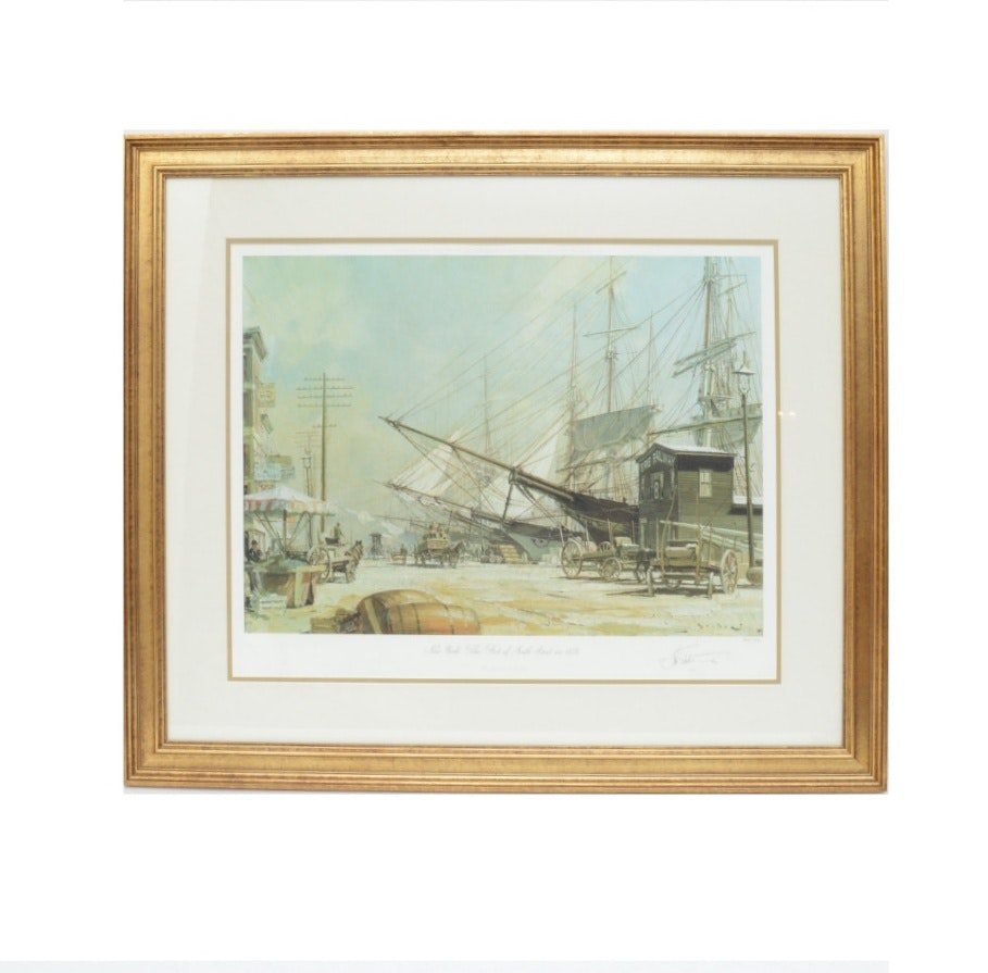 """John Stobart Offset Lithograph """"New York: The Foot of South Street 1876"""""""