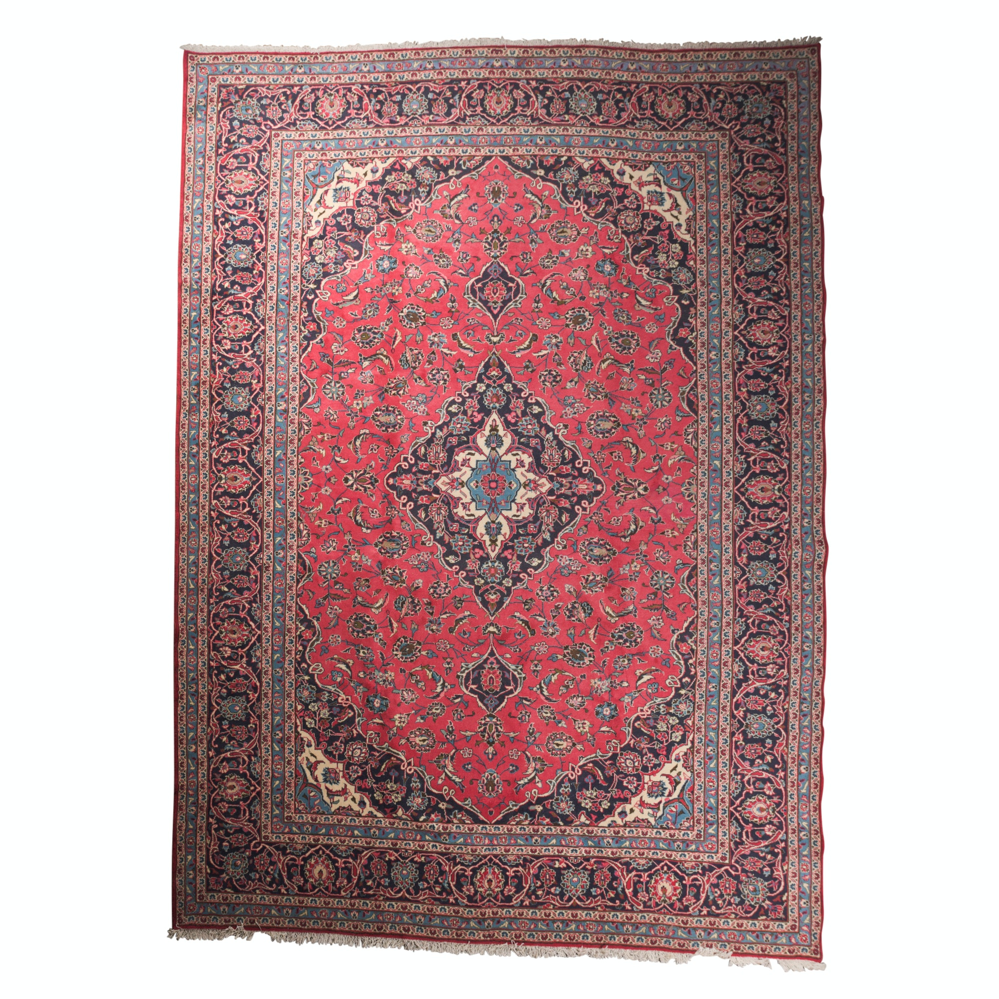 Hand-Knotted Persian Kerman Wool Room Sized Rug