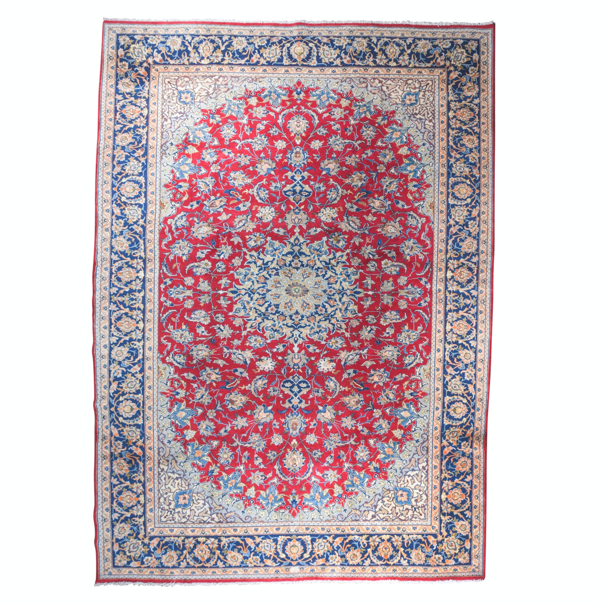 Hand-Knotted Persian Tabriz Wool Room Sized Rug