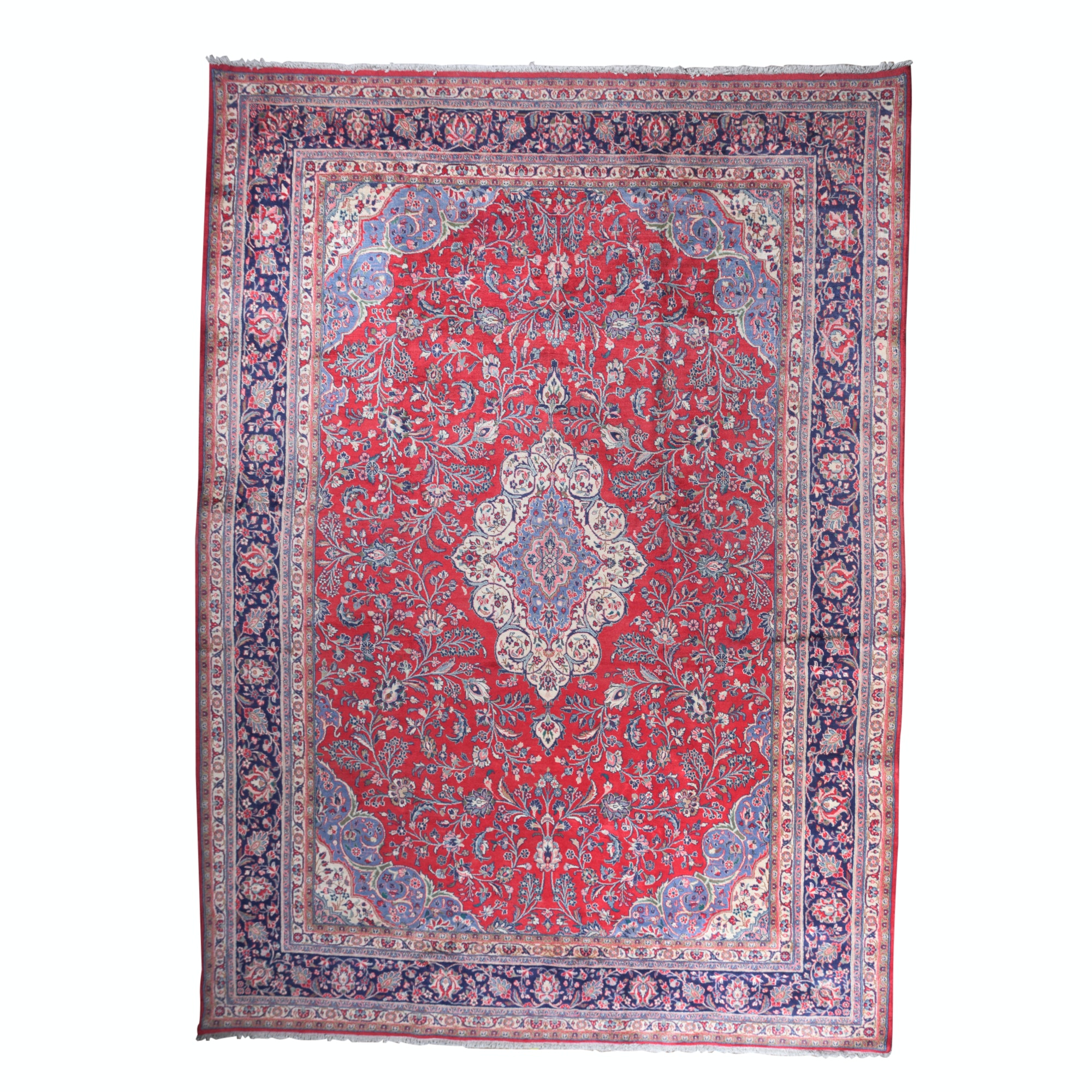 Hand-Knotted Indo-Kashan Wool Room Sized Rug