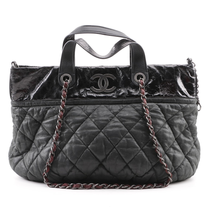 fa340eb28d60d4 Chanel In-The-Mix Quilted Black Iridescent Calfskin Leather Tote Bag : EBTH
