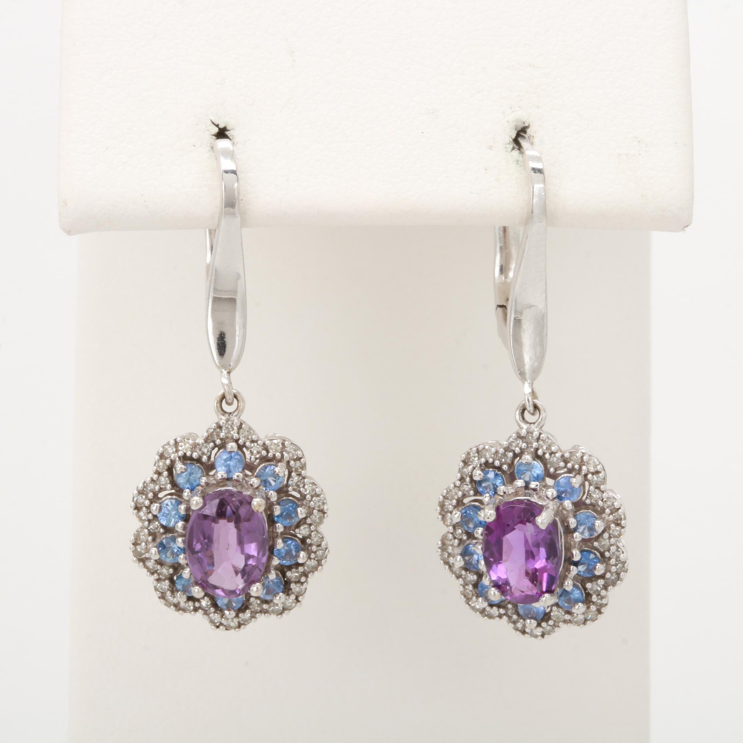 14K White Gold Amethyst, Blue Sapphire and Diamond Earrings