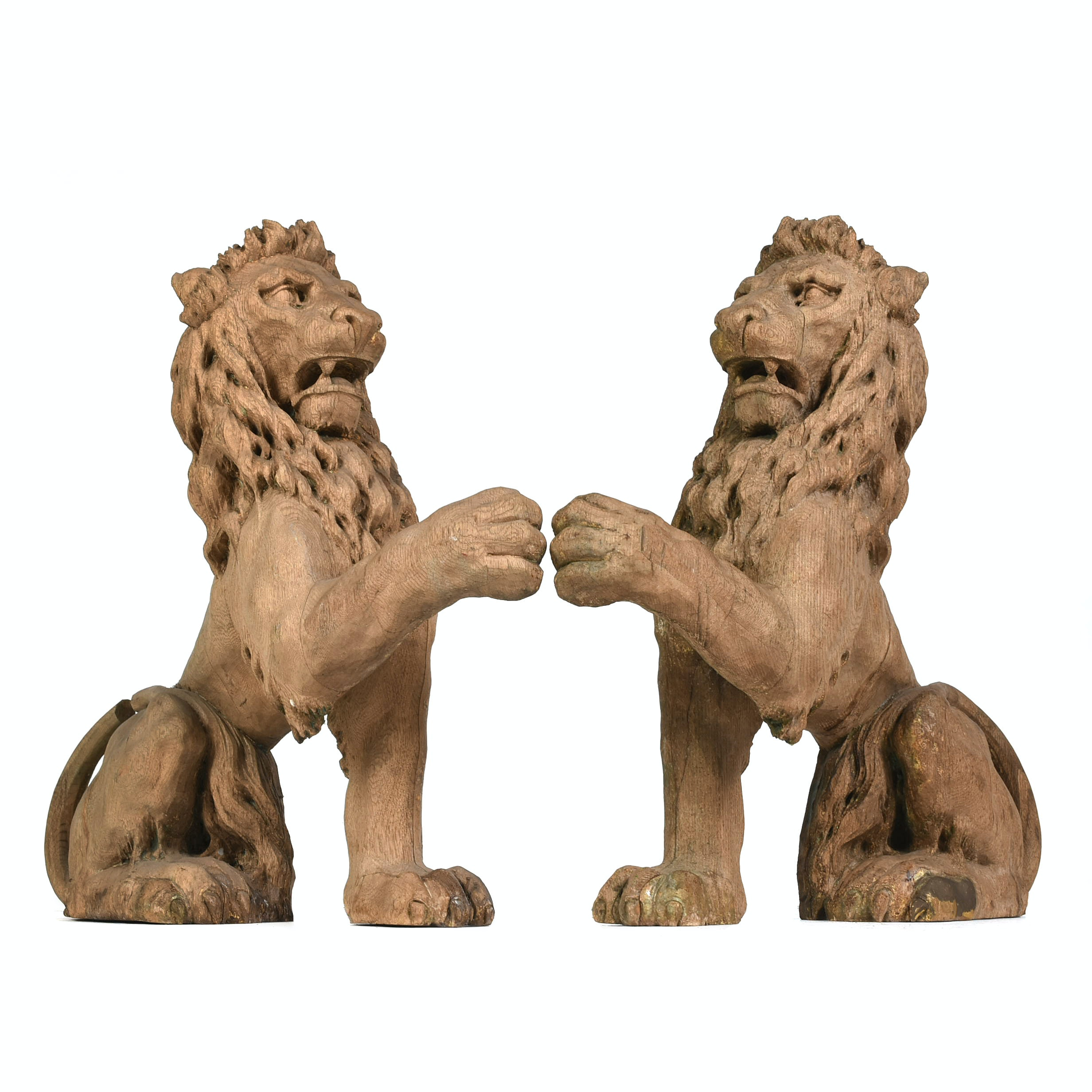 Pair of Carved Oak Lion Carousel Bench Supports, Early 20th Century