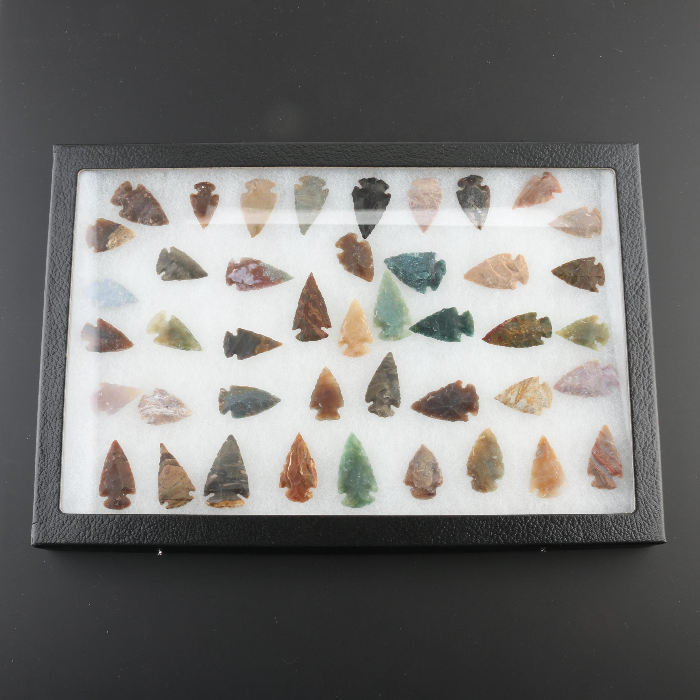 Collection of Forty-Three Contemporary Arrowheads