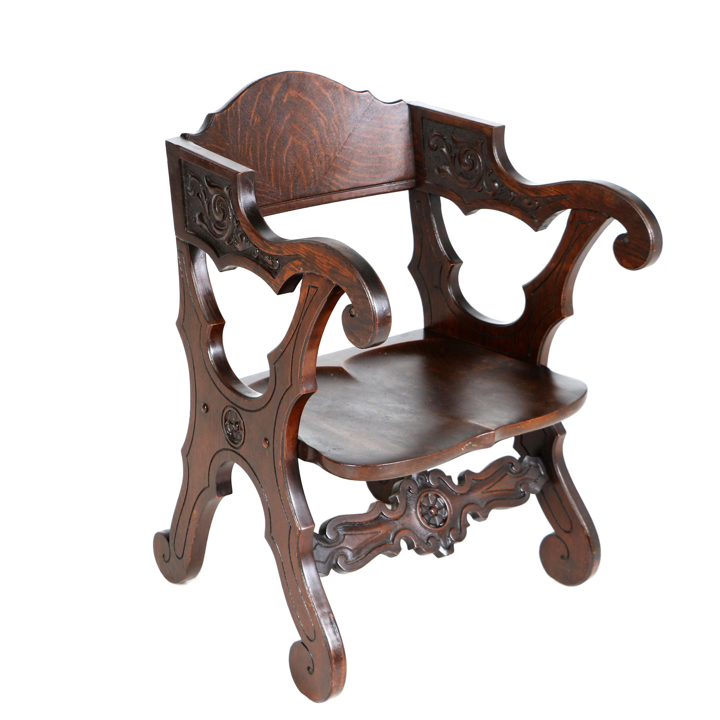 Late Victorian Renaissance Revival Oak Armchair, Late 19th/Early 20th Century