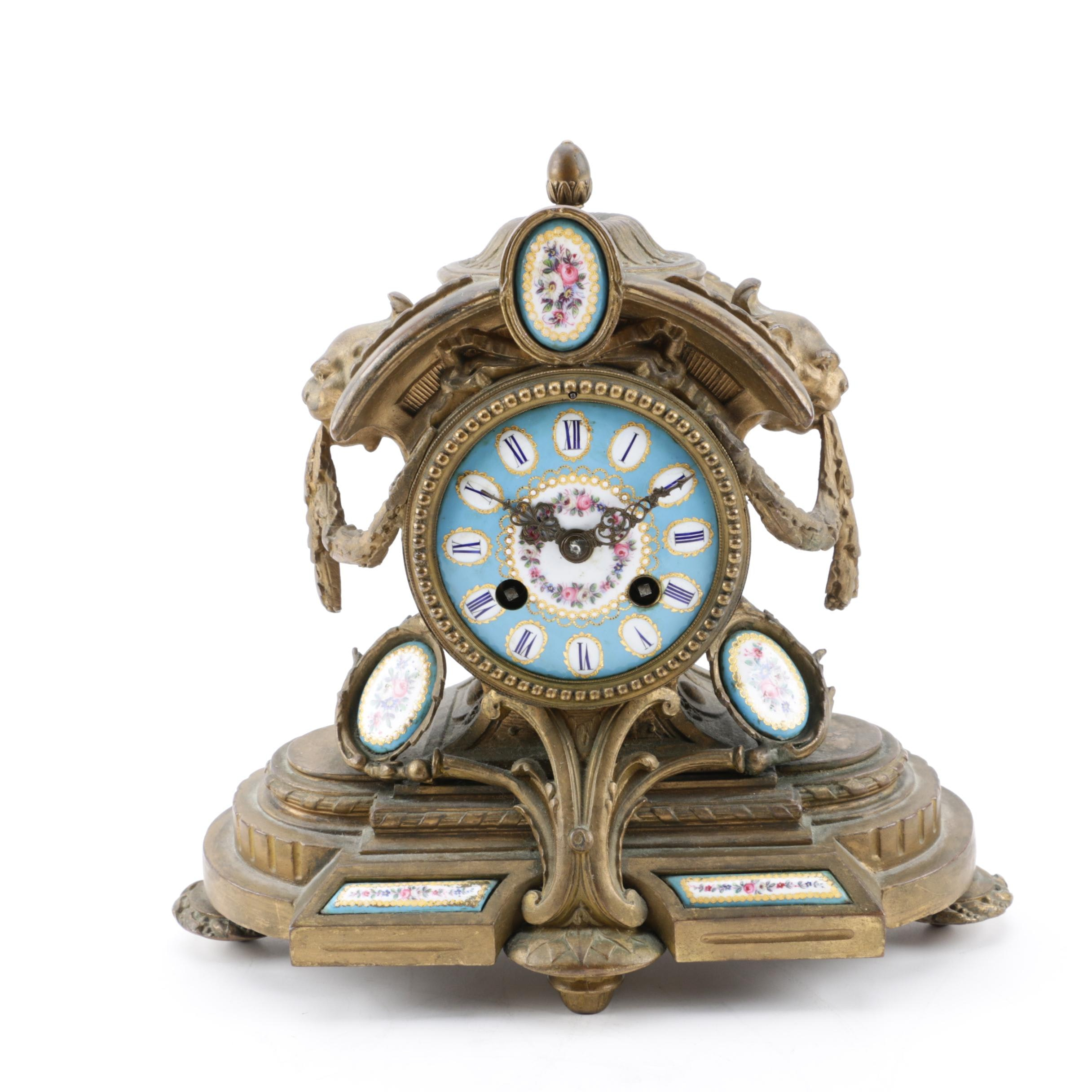 French Sevres Style Gilt Brass Mantel Clock, 19th Century
